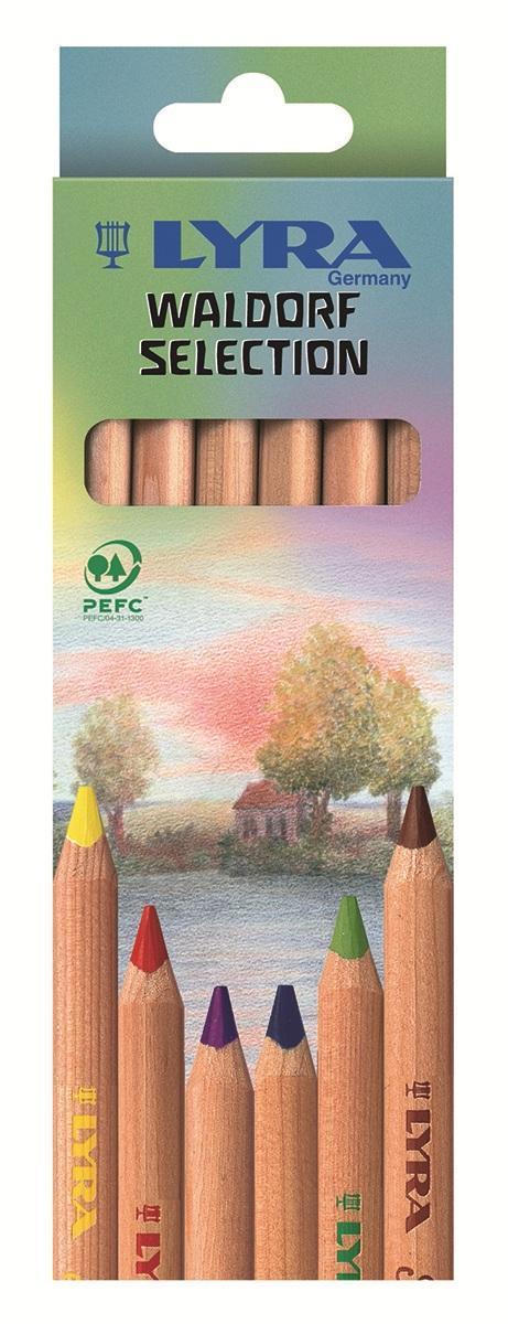 Цветные карандаши Lyra Waldorf Selection, 6 цветовC13S041944Цветные карандаши Lyra Waldorf Selection непременно, понравятся вашему юному художнику. Набор включает в себя 6 ярких насыщенных цветных карандаша с треугольной формой для удобного захвата. Уникальные цвета карандашей, разработаны специально немецкой художественной школой. Карандаши изготовлены из натурального дерева, экологически чистые, не лакированные. Идеально подходят для левшей. Имеют прочный неломающийся высокопигментный грифель, не требующий сильного нажатия и легко затачиваются. Порадуйте своего ребенка таким восхитительным подарком! В комплекте: 6 карандашей.