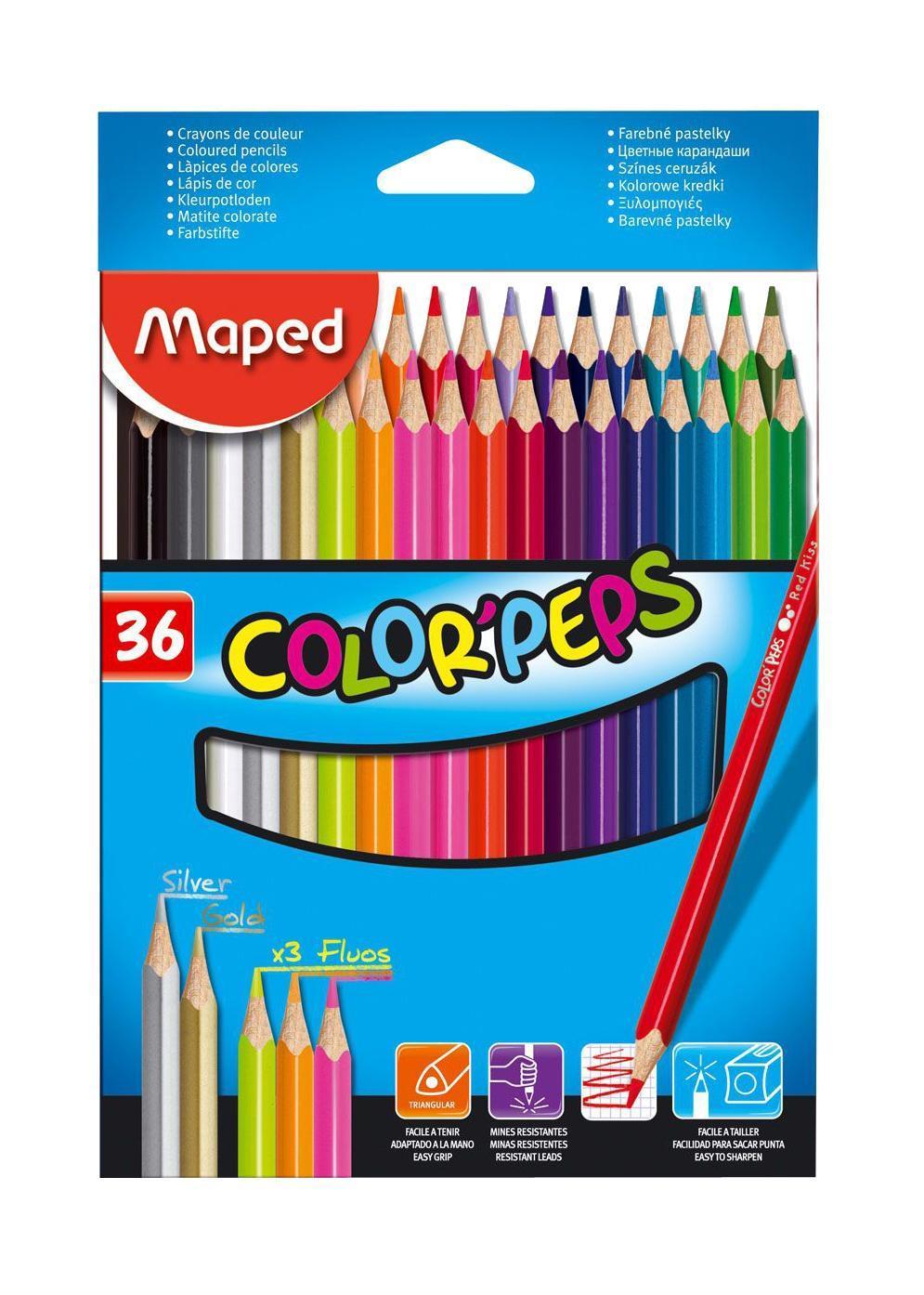 Карандаши цветные Maped Color Peps, 36 цветов72523WDВ процессе рисования у малышей развивается наглядно-образное мышление, воображение, мелкая моторика рук, творческие и художественные способности, вырабатывается усидчивость и аккуратность. Набор содержит карандаши 36 ярких насыщенных цветов. Все карандаши предварительно заточены. Цветные карандаши Color Peps разработаны специально для самых маленьких художников, которые только начинают свой творческий путь. Эргономичный трехгранный корпус из американской липы особенно удобен для маленьких детских ручек. Специальное покрытие и многослойная лакировка уменьшают скольжение, что делает процесс рисования максимально комфортным. Мягкий, ударопрочный грифель не ломается и не крошится при заточке.В процессе рисования у малышей развивается наглядно-образное мышление, воображение, мелкая моторика рук, творческие и художественные способности, вырабатывается усидчивость и аккуратность.