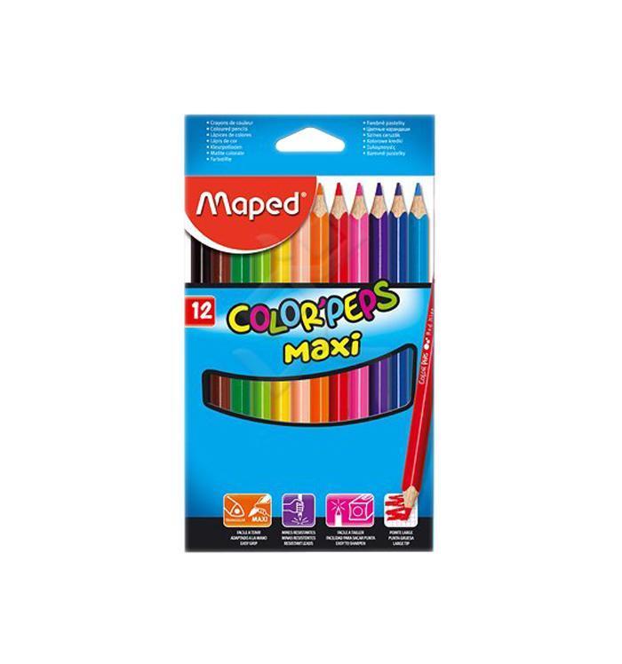Карандаши цветные Maped Color Peps Maxi, 12 цветов2010440В процессе рисования у малышей развивается наглядно-образное мышление, воображение, мелкая моторика рук, творческие и художественные способности, вырабатывается усидчивость и аккуратность. Набор содержит карандаши 12 ярких насыщенных цветов. Все карандаши предварительно заточены. Цветные карандаши Color Peps Maxi разработаны специально для самых маленьких художников, которые только начинают свой творческий путь. Эргономичный трехгранный корпус из американской липы особенно удобен для маленьких детских ручек. Специальное покрытие и многослойная лакировка уменьшают скольжение, что делает процесс рисования максимально комфортным. Мягкий, ударопрочный грифель не ломается и не крошится при заточке, а его утолщенный диаметр позволяет получать более широкую и насыщенную линию. В процессе рисования у малышей развивается наглядно-образное мышление, воображение, мелкая моторика рук, творческие и художественные способности, вырабатывается усидчивость и аккуратность.Набор содержит карандаши 12 ярких насыщенных цветов. Все карандаши предварительно заточены. Характеристики:Материал: грифель, дерево. Длина карандаша: 17,5 см. Диаметр карандаша: 0,9 см. Размер упаковки:20,5 см х 11,5 см х 1 см. Изготовитель: Китай.