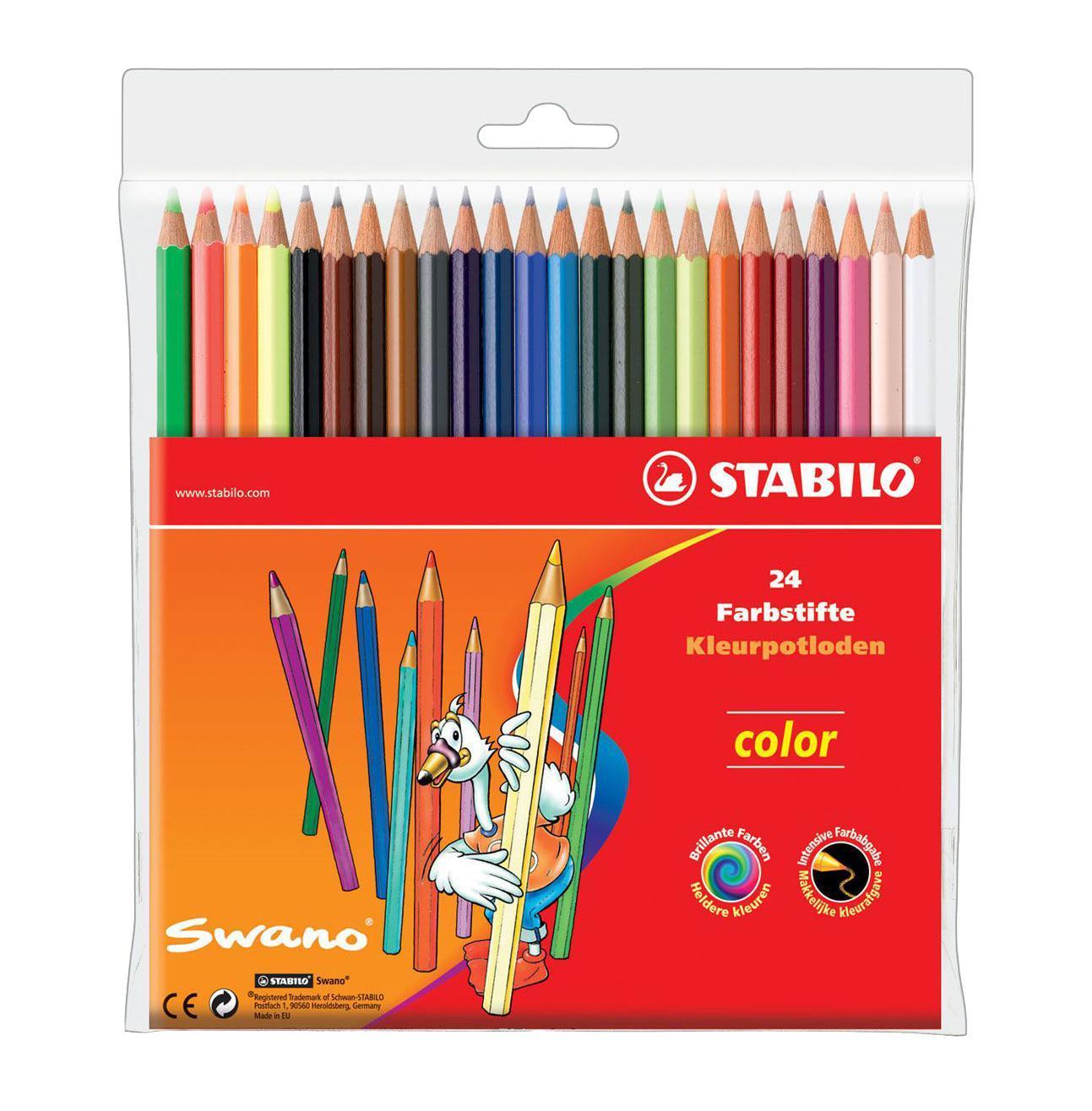 Карандаши цветные Stabilo Color, 24 цвета3554/24 8 KSЦветные карандаши STABILO color шестигранной формы. Широкая гамма цветов, которые отлично смешиваются и позволяют создавать огромное количество оттенков. Насыщенные цвета имеют высокую светостойкость. Мягкий грифель легко рисует на бумаге, не царапая ее и не крошась. Карандаши не ломаются при рисовании и затачивании. В наборе 20 базовых цветов и 4 флуоресцентных цвета. Характеристики:Материал:дерево. Диаметр карандаша:0,7 см. Диаметр грифеля:2,5 мм. Длина карандаша:17,5 см. Размер упаковки:18 см х 17,5 см х 1 см. Изготовитель:Германия.