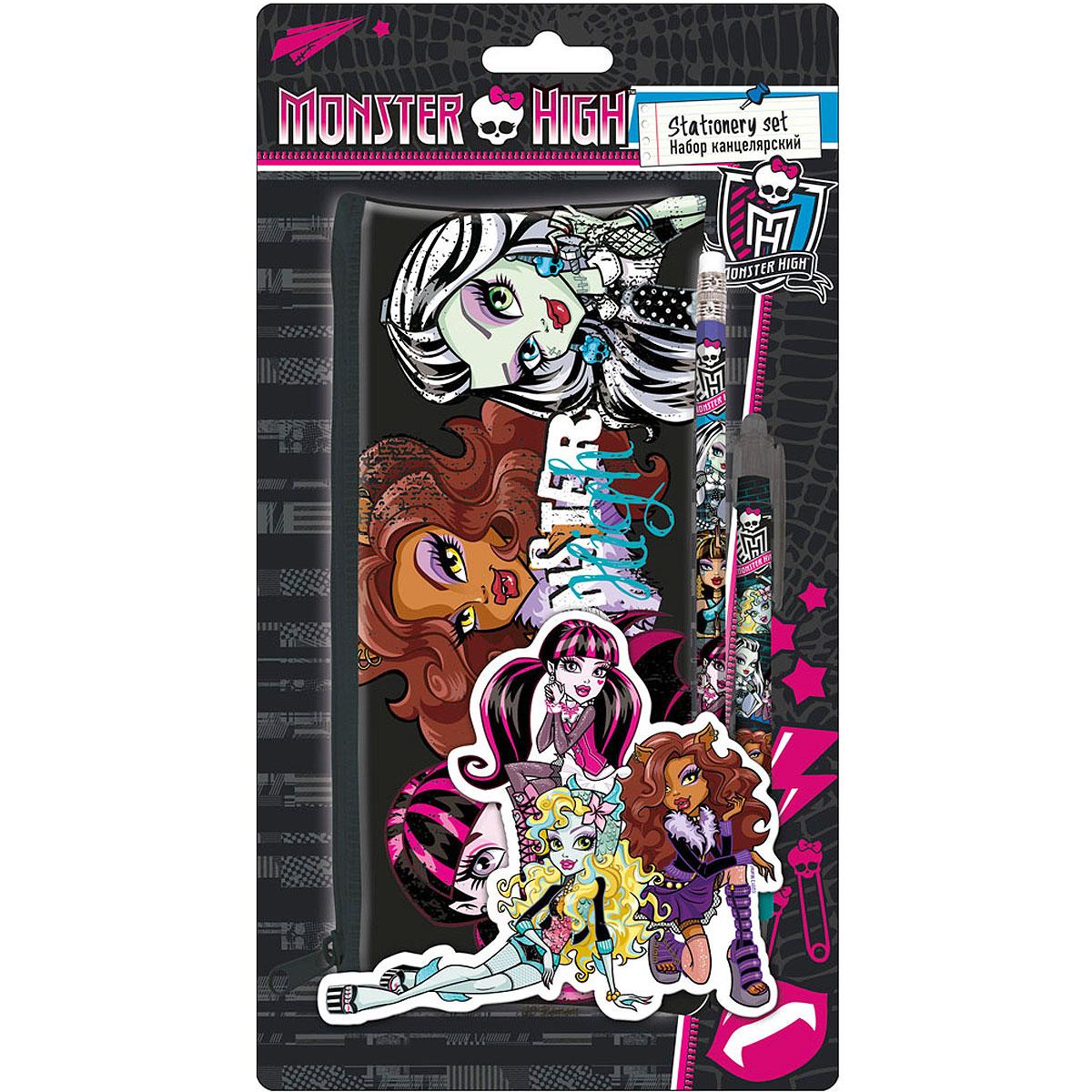 Канцелярский набор Monster High, 3 предмета72523WDКанцелярский набор Monster High станет незаменимым атрибутом в учебе любого школьника.Он включает в себя прямоугольный пенал, чернографитный карандаш с ластиком и автоматическую ручку. Пенал закрывается на застежку-молнию. Ручка снабжена прорезиненной вставкой в области захвата, подача стержня производится путем нажатия на кнопку в верхней части ручки. Все предметы набора оформлены изображениями персонажей популярного мультсериала Monster High.