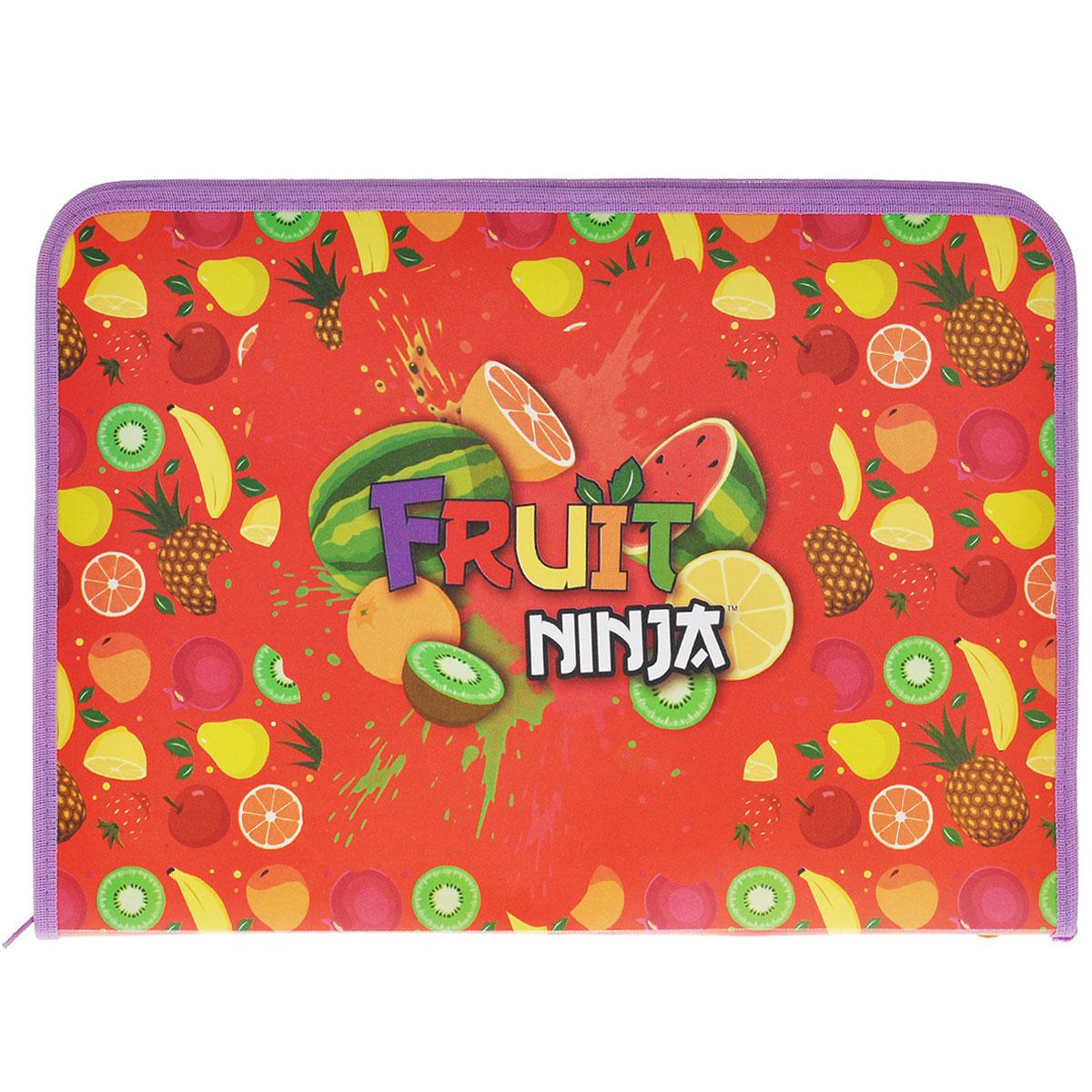 Папка для труда Action! Fruit Ninja, цвет: красный, сиреневыйFS-54115Папка для труда Action! Fruit Ninja предназначена для хранения тетрадей, рисунков и прочих бумаг, а также ручек, карандашей, ластиков и точилок. Папка оформлена изображениями фруктов и надписью Fruit Ninja. Внутри находится одно большое отделение с вкладышем, содержащим 11 фиксаторов для школьных принадлежностей. Закрывается папка на застежку-молнию.Яркая и удобная, такая папка непременно понравится вашему ребенку.