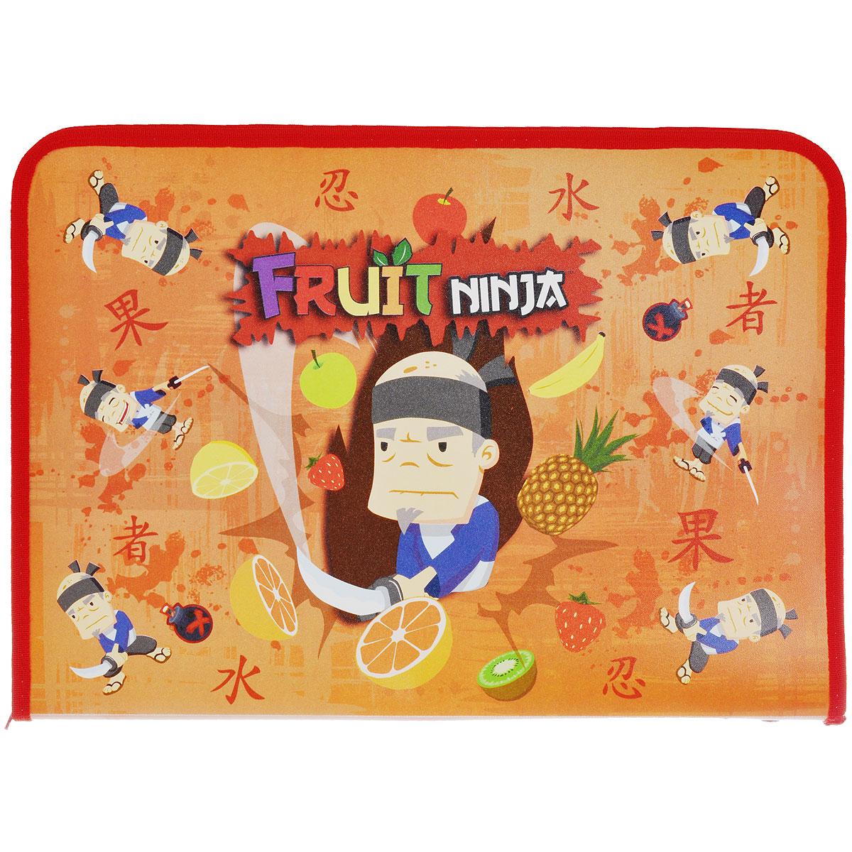 Папка для труда Action! Fruit Ninja, цвет: оранжевыйC37690/FN-FZA4-L оранжевыйПапка для труда Action! Fruit Ninja предназначена для хранения тетрадей, рисунков и прочих бумаг, а также ручек, карандашей, ластиков и точилок. Папка оформлена изображением Фруктового Ниндзя. Внутри находится одно большое отделение с вкладышем, содержащим 11 фиксаторов для школьных принадлежностей. Закрывается папка на застежку-молнию.Яркая и удобная, такая папка непременно понравится вашему ребенку.