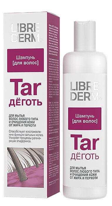 Librederm Шампунь Деготь, от перхоти, для любого типа волос, 250 млFS-00897Шампунь Деготь предназначен для мытья волос любого типа и очищения кожи волосистой части головы от жира и перхоти. Постоянное применение шампуня способствует восстановлению функции сальных желез, ускоряет процесс регенерации эпидермиса, препятствует выпадению волос.Особенно рекомендуется для ухода за жирными волосами.Товар сертифицирован.