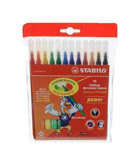 """Набор """"Stabilo Power"""" состоит из 12 цветных фломастеров. Фломастеры рисуют яркими насыщенными цветами. Чернила на водной основе не имеют запаха и легко отстирываются водой. Фломастеры """"Stabilo Power"""" не высыхают, находясь без колпачка долгое время. Очень прочный пулевидный наконечник выдерживает повышенные нагрузки при рисовании и раскрашивании."""