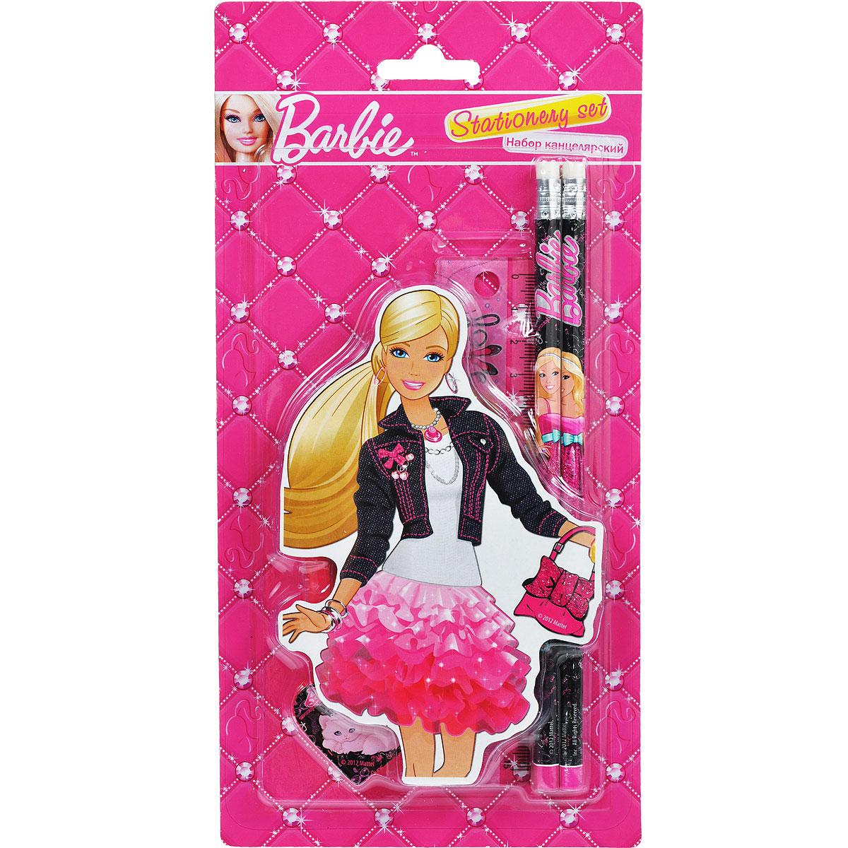 Канцелярский набор Barbie, 5 предметов72523WDКанцелярский набор Barbie станет незаменимым атрибутом в учебе любой школьницы.Он включает в себя ластик в форме губной помады, 2 чернографитных карандаша с ластиком, точилку в форме сердца и линейку 15 см.
