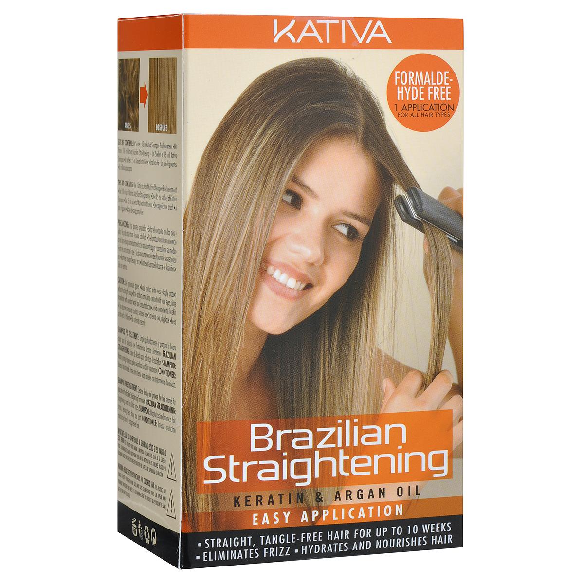 Kativa Набор для кератинового выпрямления и восстановления волос с маслом Арганы KERATINA65T00030Набор для бразильского выпрямления волос Kativa включает в себя шампунь для подготовки волос к кератиновому выпрямлению, средство для кератинового выпрямления и восстановления волос с маслом арганы, укрепляющий шампунь с кератином и укрепляющий бальзам-кондиционер с кератином для всех типов волос.Эксклюзивная формула способствует питанию, восстановлению, увлажнению волос, дарит им сияющий блеск, который не останется незамеченным. Система идеально выпрямляет волосы, убирая нежелательный объем и пушистость, свойственную вьющимся волосам. Не содержит формальдегид.Объем шампуня для подготовки волос: 15 мл.Объем средства для выпрямления волос: 100 мл.Объем укрепляющего шампуня: 15 мл.Объем укрепляющего бальзама-кондиционера: 15 мл.Специалисты Kativa рекомендуют использовать систему в день процедуры окрашивания волос.Товар сертифицирован.