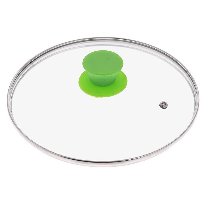 Крышка стеклянная Jarko Silk, цвет: зеленый. Диаметр 22 смКС*GTL28110Крышка Jarko Silk, изготовленная из термостойкого стекла, позволяет контролировать процесс приготовления пищи без потери тепла. Ободок из нержавеющей стали предотвращает сколы на стекле. Крышка оснащена отверстием для паровыпуска. Эргономичная силиконовая ручка не скользит в руках и не нагревается в процессе приготовления пищи.