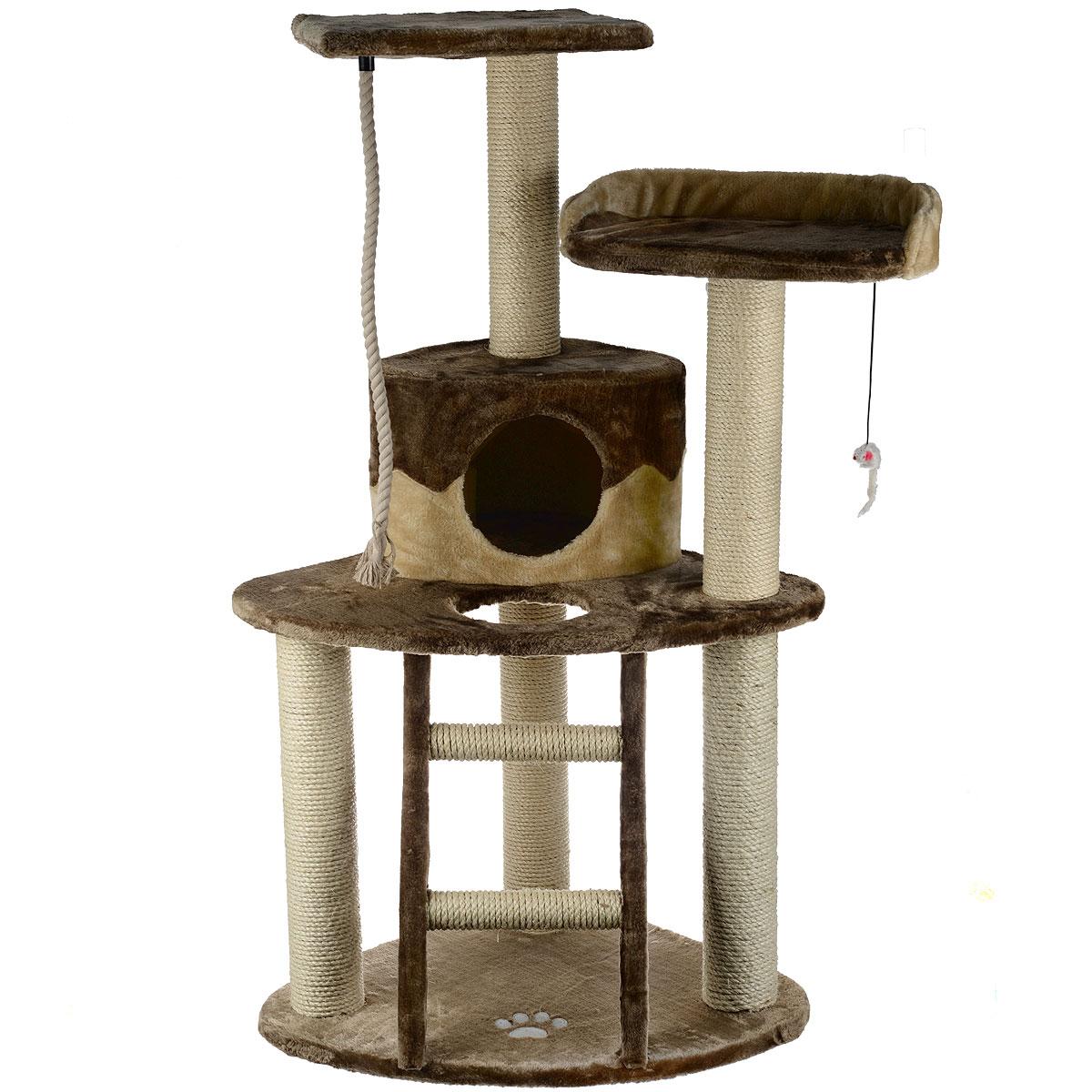 Комплекс для кошек I.P.T.S. Smarty, 55 см х 55 см х 120 см0120710Угловой комплекс I.P.T.S. Smarty предназначен для досуга вашей кошки и состоит из домика, 3-х полок, когтеточки, лестницы и каната. Целый дом в распоряжении кошки. Три уровня высоты, когтеточка, лестница в игровом комплексе позволяют кошки резвится и точить коготки. Комплекс обит плюшем. Когтеточка изготовлена из сизаля, натурального прочного материала.Размер комплекса: 55 см х 55 см х 120 см.