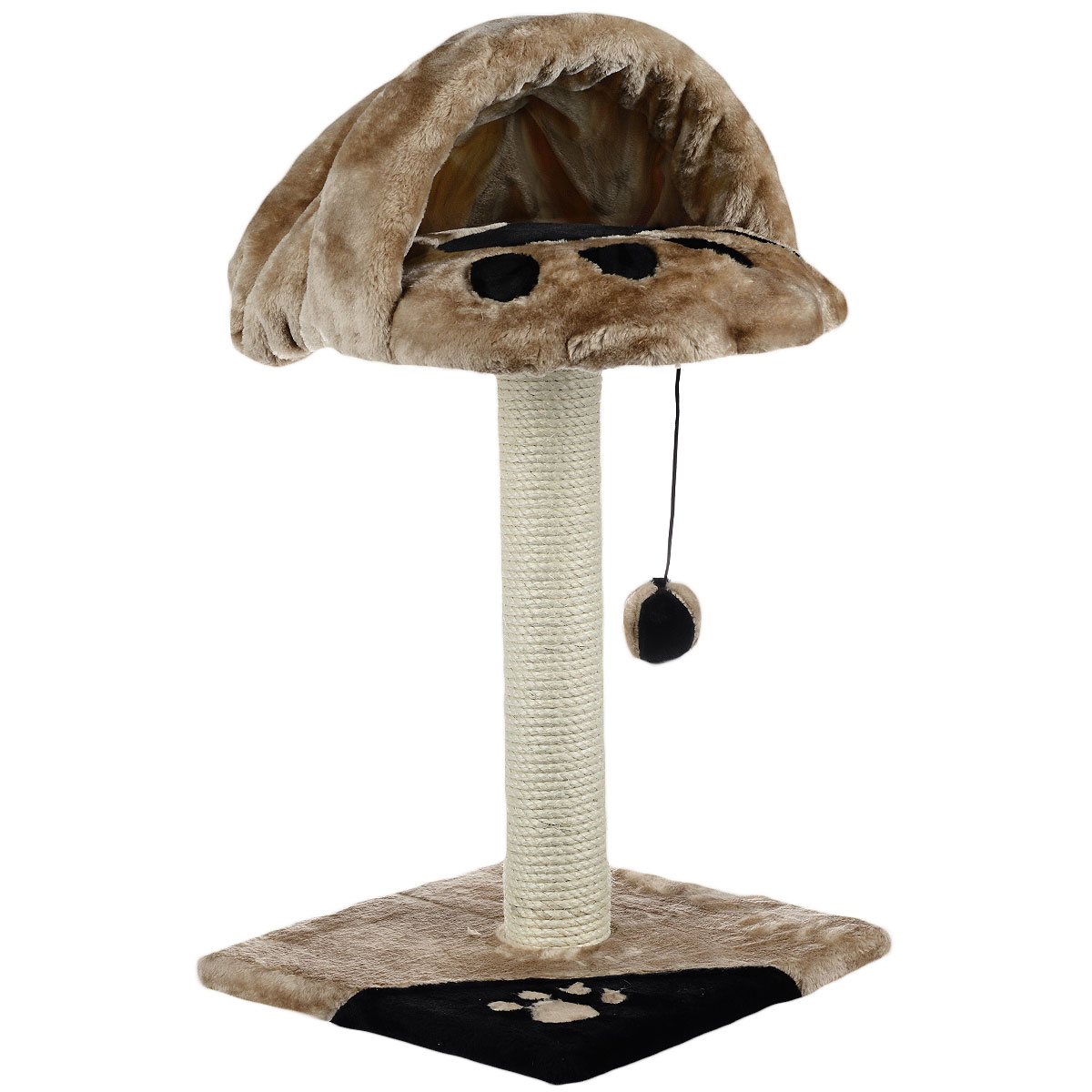 Когтеточка-дом I.P.T.S., с норой. 164240120710Когтеточка-дом I.P.T.S. понравится вашему любимцу, ведь, помимо своей главной функции, она служит отличным местом для комфортного отдыха.Кошка может точить свои когти о столбик, который является основанием дома. Наверху расположена удобная нора, куда ваш питомец может спрятаться. Также когтеточка оснащена мячиком на веревочке для игр.