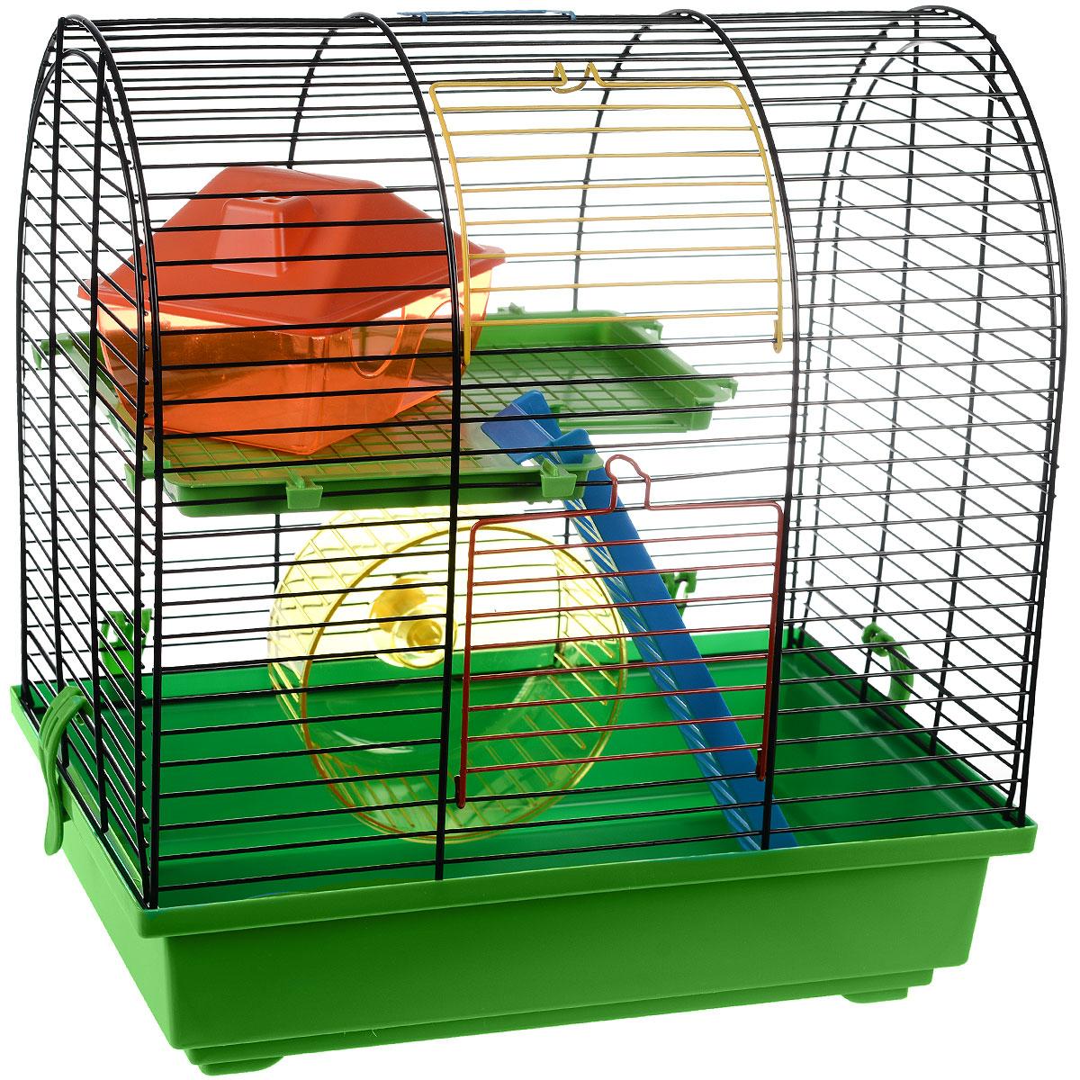 Клетка для грызунов I.P.T.S. Grim 2, цвет: черный, зеленый, 37 см х 25 см х 39 см0120710Небольшая клетка снабжена всем необходимым для отдыха и активной жизни грызунов. Клетка оборудована колесом для подвижных игр, домиком для отдыха и отдельным местом для кормления. Клетка выполнена из пластика и металла. Надежно закрывается на защелки. Подходит для хомяков и других мелких грызунов. Такая клетка станет уединенным личным пространством и уютным домиком для маленького грызуна. Уважаемые клиенты!Обращаем ваше внимание на возможные изменения в цвете деталей товара. Поставка осуществляется в зависимости от наличия на складе.