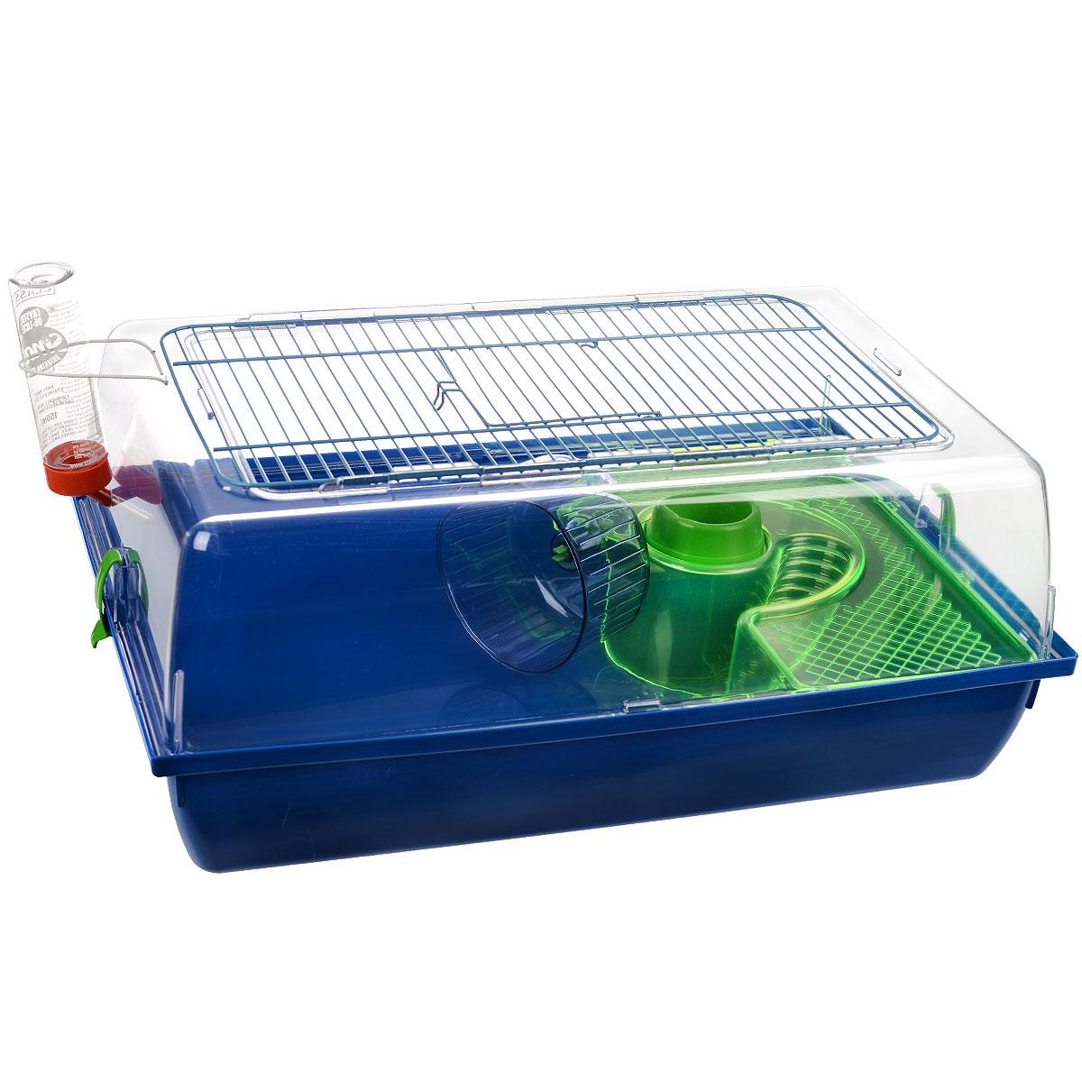 Клетка для хомяков I.P.T.S. Alex, цвет: синий, 58 см х 38 см х 25 см0120710Яркая цветная клетка снабжена всем необходимым для отдыха и активной жизни грызуна. Подходит для мышей, песчанок, хомяков и других мелких грызунов. Клетка оборудована колесом для упражнений, поилкой и местом для кормления. Клетка выполнена из пластика и металла. Надежно закрывается на защелки. Такая клетка станет уединенным личным пространством и уютным домиком для маленького грызуна.