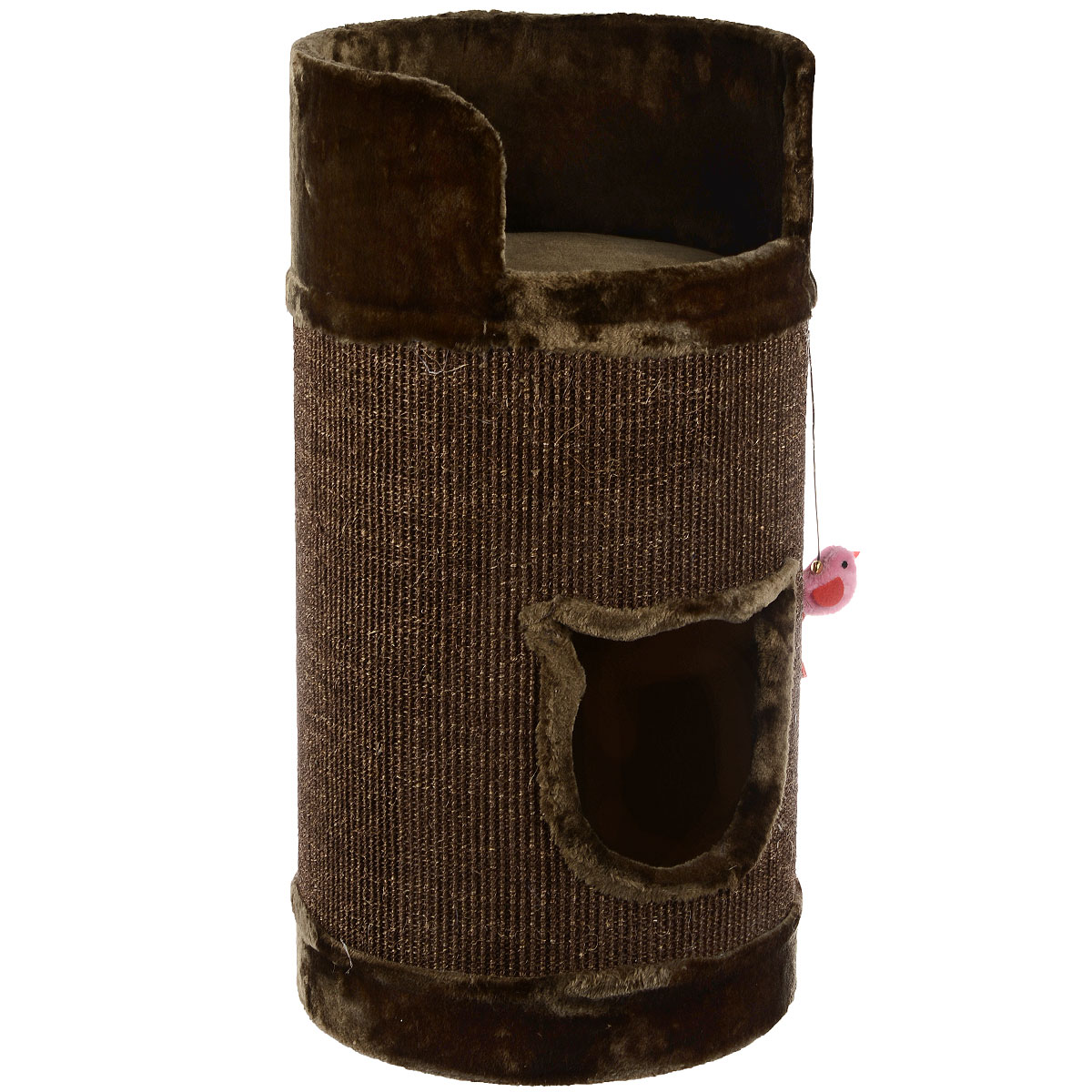 Домик-когтеточка для кошек I.P.T.S. Bruno, цвет: коричневый, 38 см х 38 см х 75 см0120710Домик-когтеточка для кошек I.P.T.S. Bruno выполнен из ДСП, плюша и сизаля.Удобная когтеточка в виде бочки позволит приучить кошку точить коготки в строго определенном месте. Сверху имеется удобная площадка с бортиком, где вашему питомцу будет удобно спать.