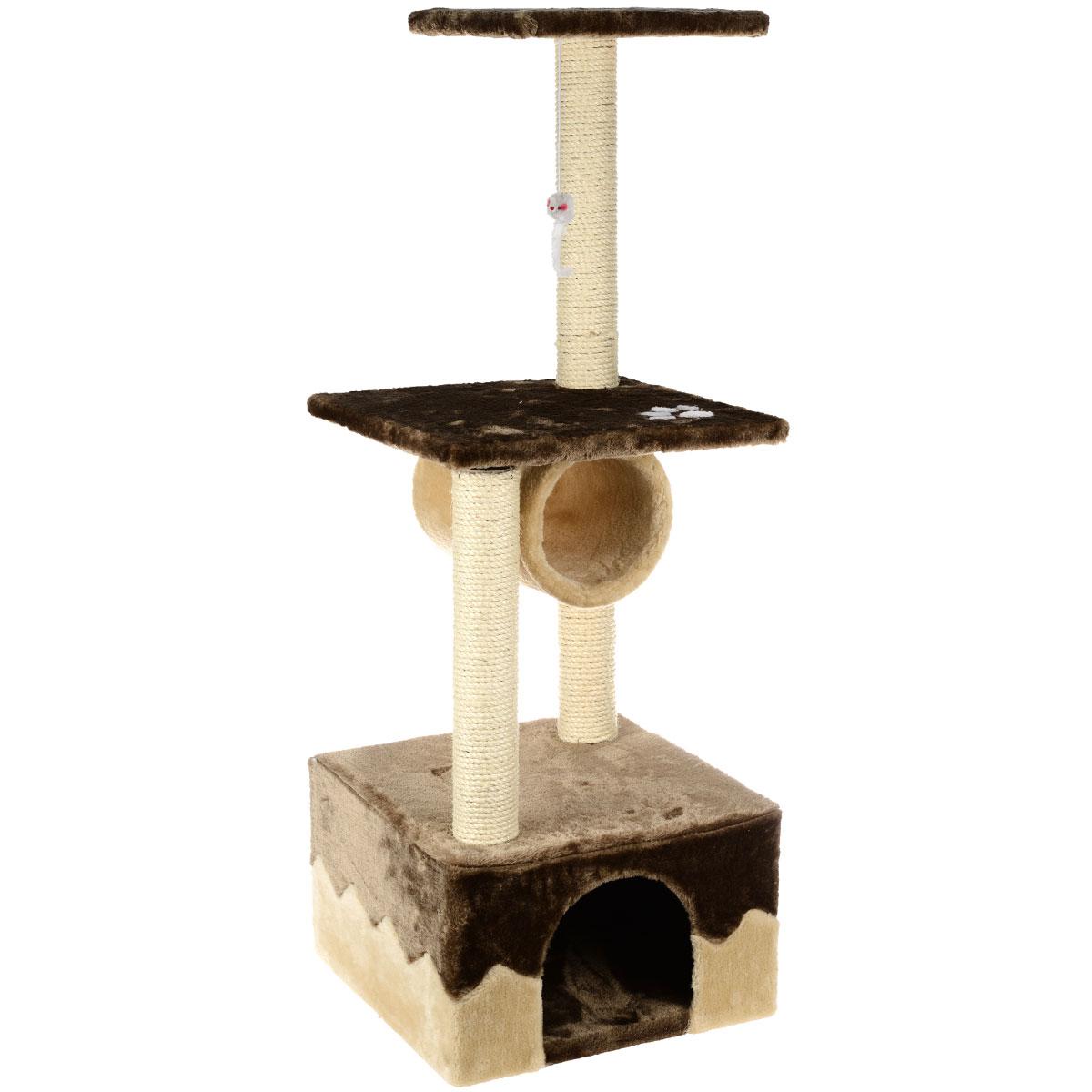 Домик-когтеточка I.P.T.S. Juva, 40 см х 40 см х 109 см0120710Домик-когтеточка I.P.T.S. Juva выполнен из высококачественного ДСП, обтянут мягким плюшем и предназначен для активных кошек. Когтеточка состоит из трех уровней. Целый дом будет в распоряжении у вашей кошки. Разные уровни высоты, когтеточка, место для отдыха в игровом комплексе позволят кошке резвится и точить коготки.