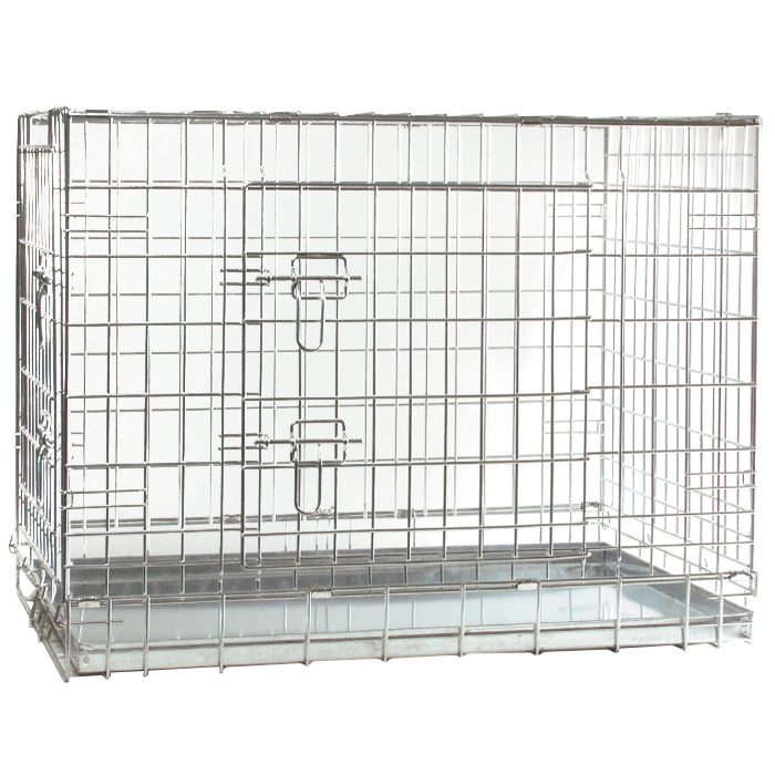 Клетка для собак I.P.T.S., 63 см х 55 см х 61 см0120710Удобная двухдверная клетка I.P.T.S. предназначена для собак мелких и средних пород. Идеально подходит для транспортировки и содержания собак во время проведения выставки. Клетка выполнена из стальной проволоки. Клетка оснащена двумя дверями (передней и боковой), которые надежно закрываются на замки. Прочный поддон не повреждает поверхность, на которой размещается. Сверху имеется ручка для переноски.