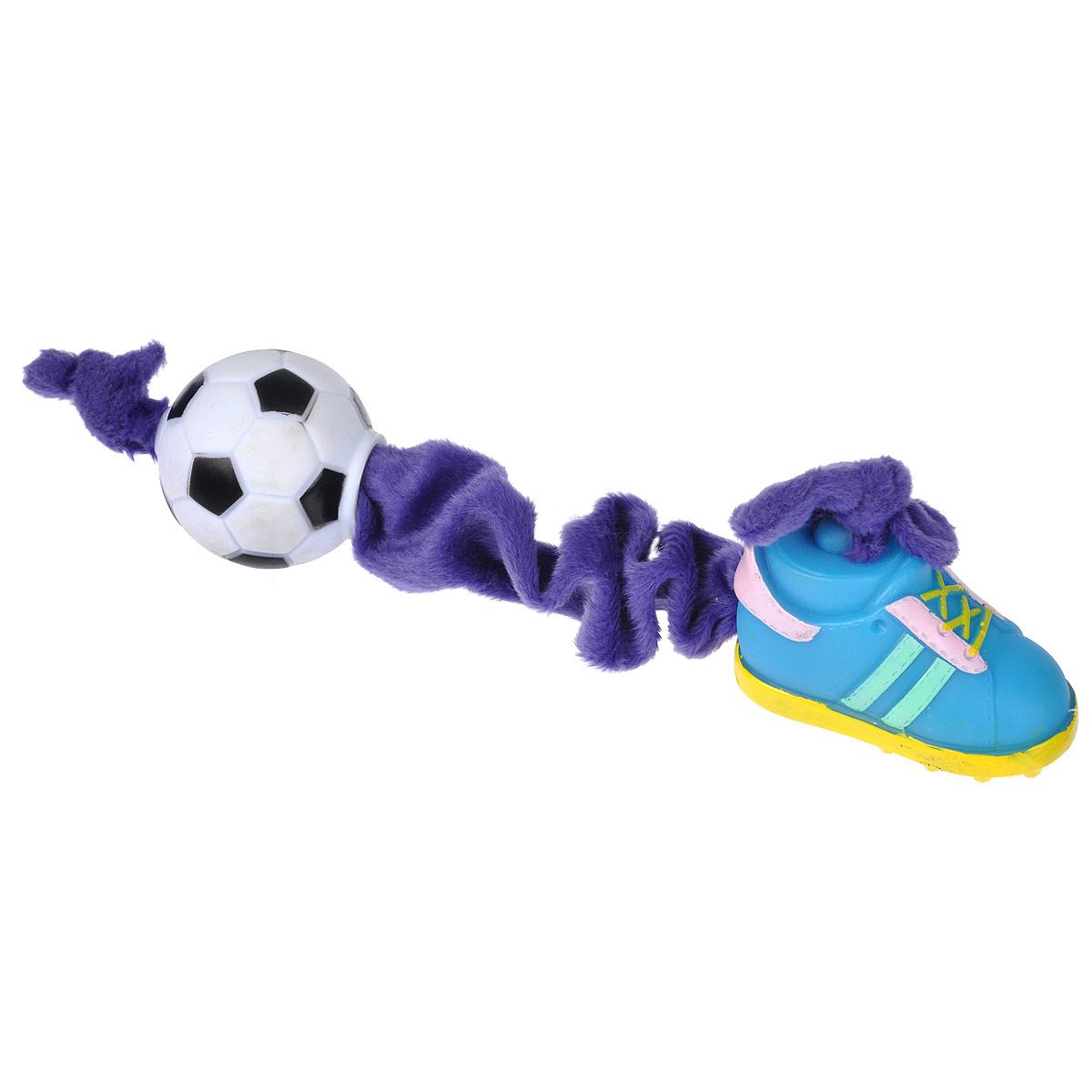 Игрушка для собак I.P.T.S. Ботинок и мяч, цвет: фиолетовый, голубой16269/620166Игрушка I.P.T.S. Ботинок и мяч, изготовленная из текстиля и резины, выполнена в виде мяча с одной стороны и ботинка с другой. Эластичная веревка позволяет собаке активно играть. Такая игрушка не навредит здоровью вашего питомца и увлечет его на долгое время.Общая длина игрушки: 24-32 см. Диаметр мяча: 5 см. Размер ботинка: 7,5 см х 4 см х 5,5 см.