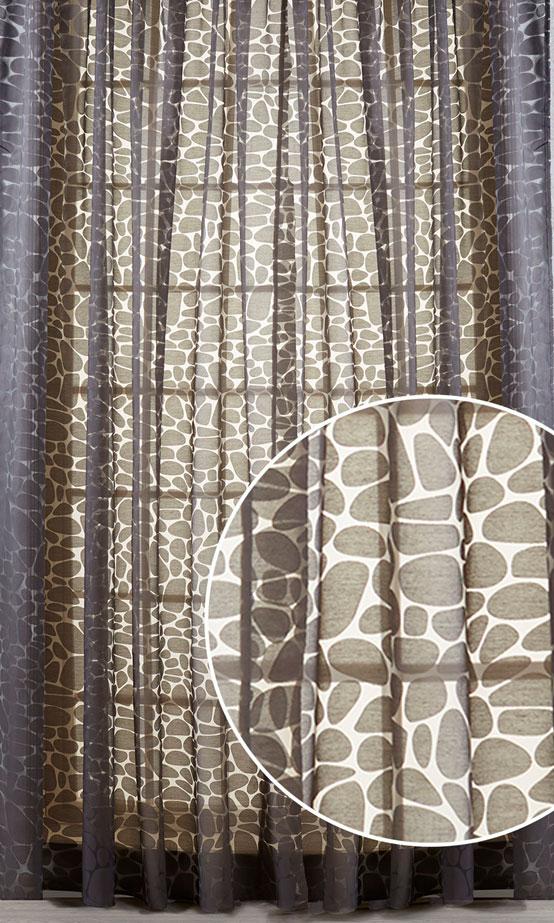 Штора Primavelle Piera, на ленте, цвет: шоколад, высота 270 см. 61782027-P06С W1687 V71172Элегантная штора Primavelle Piera выполнена из 75% вискозы и 25% полиэстера. Полупрозрачная легкая ткань и приглушенная гамма привлекут к себе внимание и органично впишутся в интерьер помещения. Штора в современном графическом дизайне, создана для тех, кто любит экспериментировать. С ее помощью вы легко преобразите интерьер квартиры, сделав его динамичным и стильным. Такие шторы идеально подходят для солнечных комнат. Мягко рассеивая прямые лучи, они хорошо пропускают дневной свет и защищают от посторонних глаз. Отличное решение для многослойного оформления окон!Эта штора будет долгое время радовать вас и ваших близких! Штора крепится на карниз при помощи ленты, которая поможет красиво и равномерно задрапировать верх.
