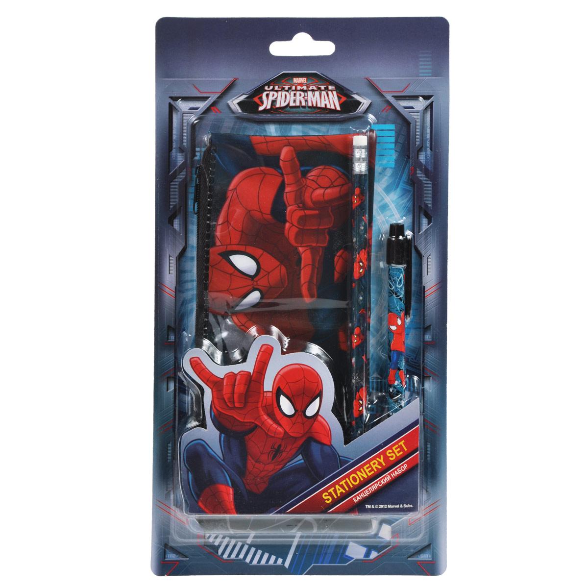 Канцелярский набор Spider-man, 3 предмета72523WDКанцелярский набор Spider-man станет незаменимым атрибутом в учебе любого школьника.Он включает в себя прямоугольный пенал, чернографитный карандаш с ластиком и автоматическую ручку. Пенал закрывается на застежку-молнию. Ручка снабжена прорезиненной вставкой в области захвата, подача стержня производится путем нажатия на кнопку в верхней части ручки. Все предметы набора оформлены изображениями Человека-Паука.