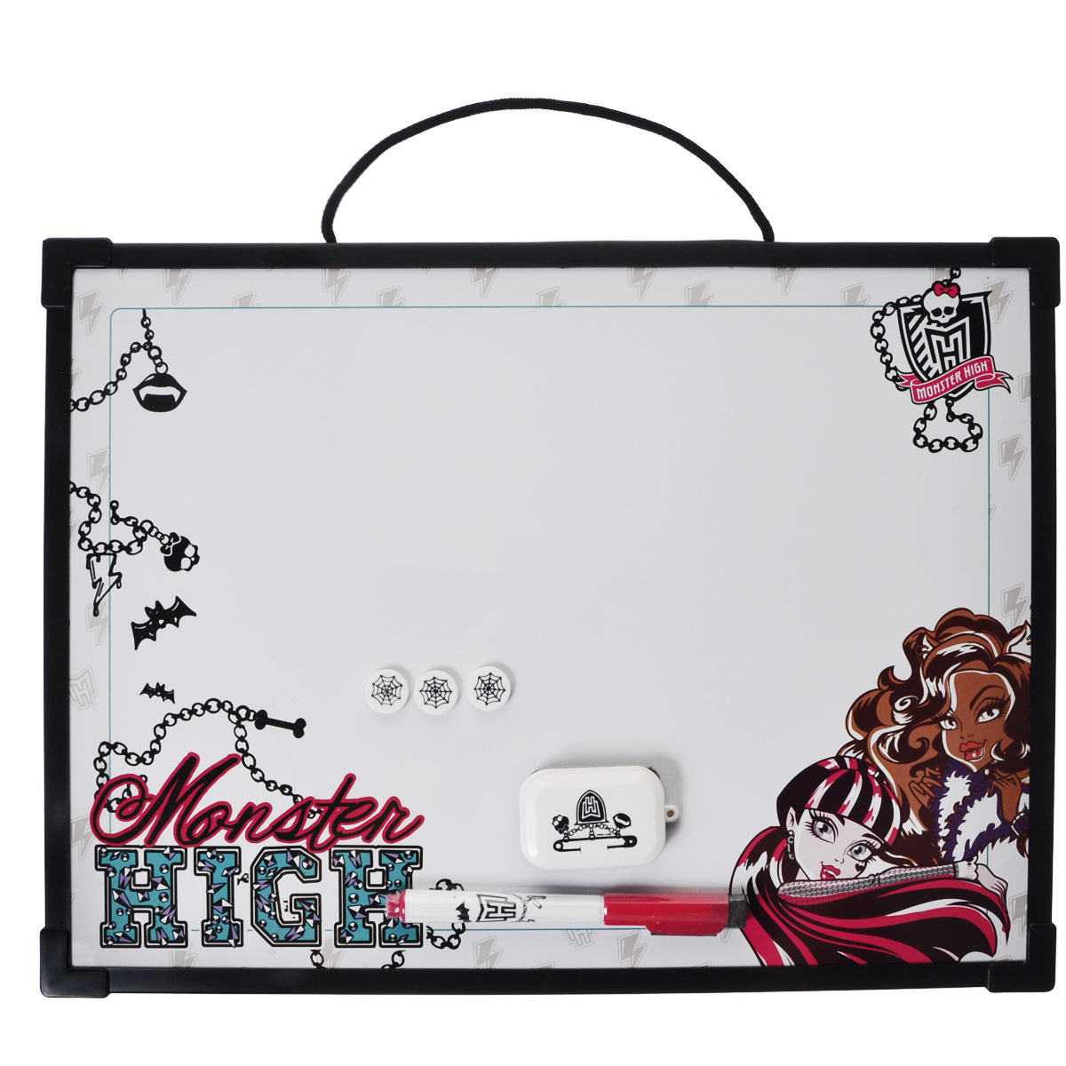 Доска магнитно-маркерная Monster High, цвет: черный, с аксессуарамиFS-00897Магнитно-маркерная доска Monster High - прекрасный способ для развития творческих и мыслительных способностей ребенка.Края доски обрамлены пластиком, который защищает ее от повреждений. В комплекте с доской предусмотрены специальный маркер с колпачком-стеркой из фетра, три круглых магнита и специальная губка для стирания записей и рисунков. Доска оформлена изображением персонажей мультсериала Школа Монстров и имеет удобную веревочную петлю для подвешивания. Чернила маркера безопасные и нетоксичные.Магнитно-маркерная доска Monster High отлично подойдет для игр и учебы.