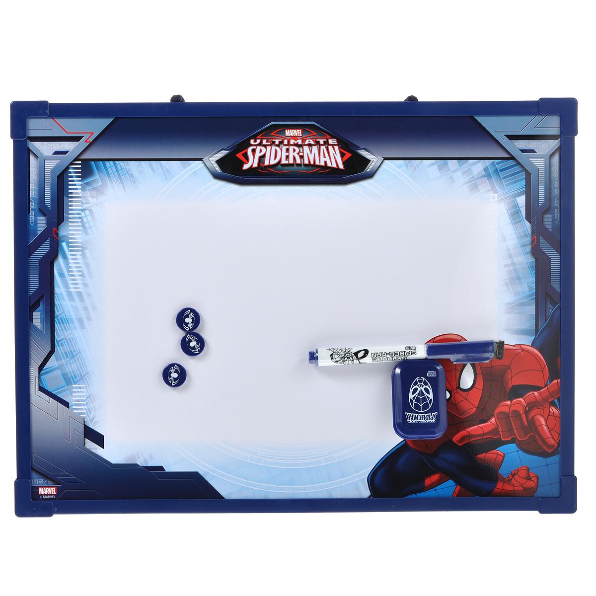 Доска магнитно-маркерная Spider-Man, цвет: темно-синий, с аксессуарами. SMBB-US2-Z150098FS-00897Магнитно-маркерная доска Spider-Man - прекрасный способ для развития творческих и мыслительных способностей ребенка. Края доски обрамлены пластиком, который защищает ее от повреждений. В комплекте с доской предусмотрены специальный маркер с фетровым стирателем на колпачке, три круглых магнита и специальная губка для стирания записей и рисунков. Доска оформлена изображением Человека-Паука и имеет удобную веревочную петлю для подвешивания. Чернила маркера безопасные и нетоксичные.Магнитно-маркерная доска Spider-Man отлично подойдет для игр и учебы.