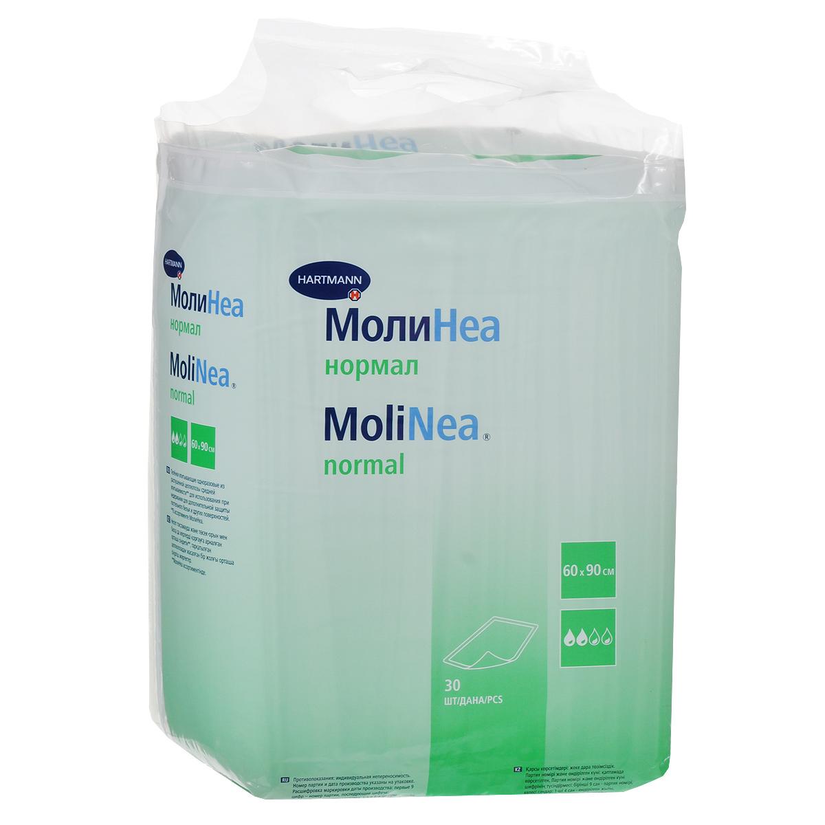 """Одноразовые впитывающие пеленки """"Molinea (Молинеа) Normal"""" средней впитываемости предназначены для дополнительной защиты постельного белья и других поверхностей во время гигиенических и диагностических процедур. Распушенная целлюлоза впитывающей подушки отбелена без использования хлора. Эластичная пленка внешнего водонепроницаемого слоя пеленки обеспечивает прочность изделия. В комплекте 30 пеленок."""