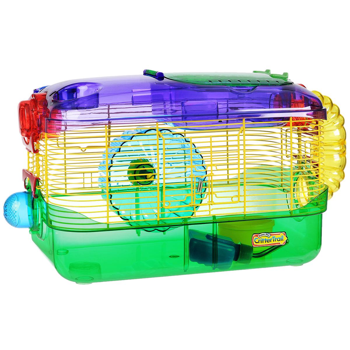 Клетка для грызунов I.P.T.S. One, с игровым комплексом, 41 см х 27 см х 28 смКВР1АбЯркая цветная клетка снабжена всем необходимым для отдыха и активной жизни грызунов. Подходит для мышей, песчанок, хомяков. Клетка оборудована колесом для подвижных игр, специальной трубой для передвижения, кормушкой и поилкой. Есть отдельный этаж, который будет служить местом для отдыха. Клетка выполнена из прозрачного пластика. Надежно закрывается на защелки. Такая клетка станет уединенным личным пространством и уютным домиком для маленького грызуна. Высота стенки поддона: 8,5 см.