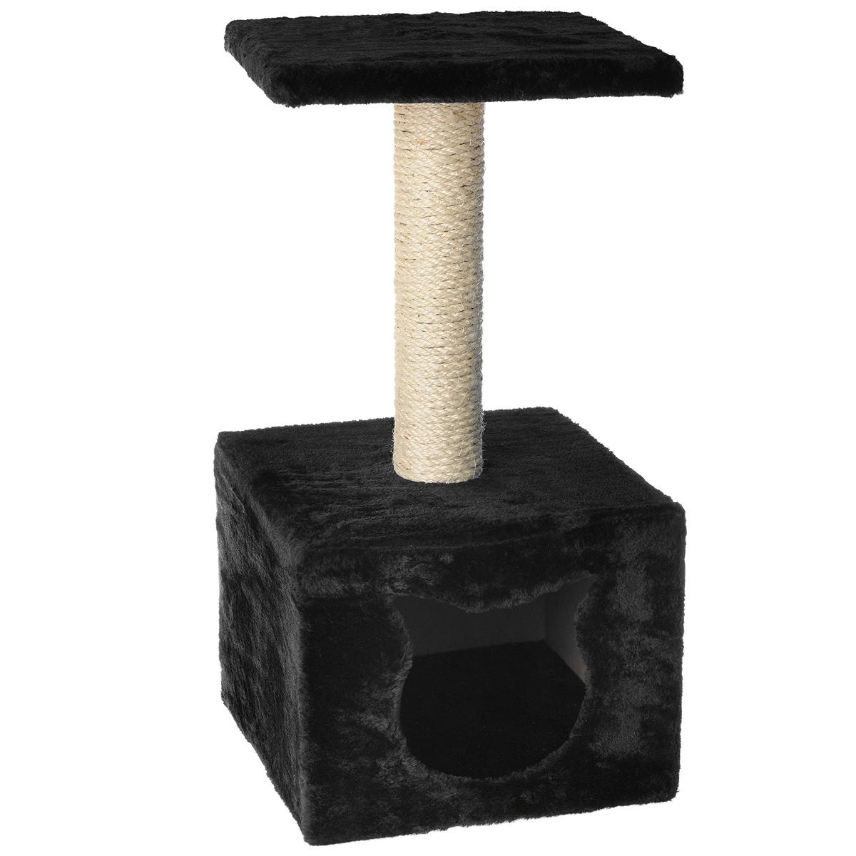 Домик-когтеточка I.P.T.S., с площадкой, цвет: черный, 30 см х 30 см х 60 см0120710Домик-когтеточка I.P.T.S. выполнен из высококачественных материалов, предназначен для кошек. Кошка будет с удовольствием точить когти о специальный столбик, изготовленный из сизаля. А отдохнуть она сможет либо на площадке, находящейся наверху столбика, либо в расположенном внизу домике.