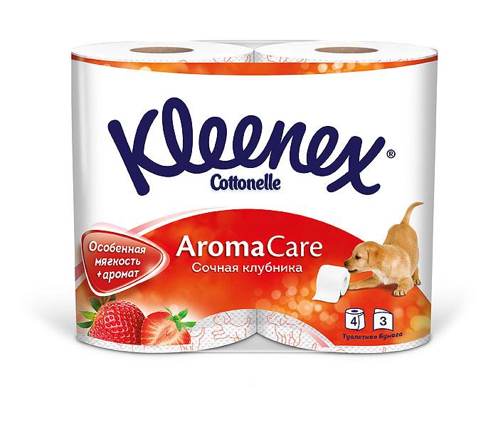 Туалетная бумага Kleenex Aroma Care. Сочная клубника, трехслойная, цвет: белый, розовый, 4 рулона010-01199-01Туалетная бумага Kleenex Aroma Care. Сочная клубника изготовлена из целлюлозы высшего качества. Трехслойные листы белого цвета имеют рисунок с тиснением в виде собачек. Мягкая, нежная, но в тоже время прочная, бумага не расслаивается и отрывается строго по линии перфорации. Обладает приятным ароматом клубники.