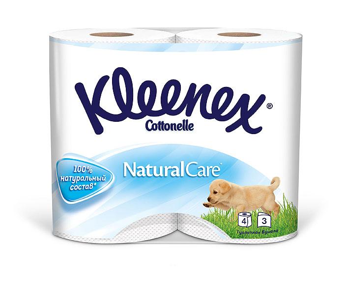 Туалетная бумага Kleenex Natural Care, трехслойная, цвет: белый, 4 рулона010-01199-23Четырехслойная туалетная бумага Kleenex Natural Care изготовлена из целлюлозы высшего качества. Листы белого цвета имеют рисунок с тиснением в виде собачек. Мягкая, нежная, но в тоже время прочная, бумага не расслаивается и отрывается строго по линии перфорации.