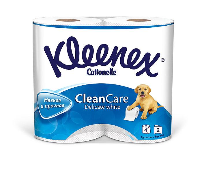 Туалетная бумага Kleenex Delicate White, двухслойная, цвет: белый, 4 рулона010-01199-23Двухслойная туалетная бумага Kleenex Delicate White изготовлена из целлюлозы высшего качества. Листы белого цвета имеют рисунок с тиснением. Мягкая, нежная, но в тоже время прочная, бумага не расслаивается и отрывается строго по линии перфорации.