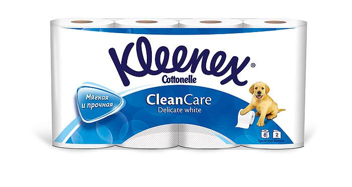 Туалетная бумага Kleenex Delicate White, двухслойная, цвет: белый, 8 рулонов67744Двухслойная туалетная бумага Kleenex Delicate White изготовлена из целлюлозы высшего качества. Листы белого цвета имеют рисунок с тиснением в виде собачек. Мягкая, нежная, но в тоже время прочная, бумага не расслаивается и отрывается строго по линии перфорации.