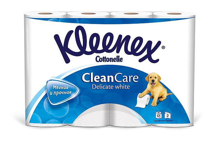 Туалетная бумага Kleenex Delicate White, двухслойная, цвет: белый, 12 рулонов010-01199-01Двухслойная туалетная бумага Kleenex Delicate White изготовлена из целлюлозы высшего качества. Листы белого цвета имеют рисунок с тиснением в виде собачек. Мягкая, нежная, но в тоже время прочная, бумага не расслаивается и отрывается строго по линии перфорации.