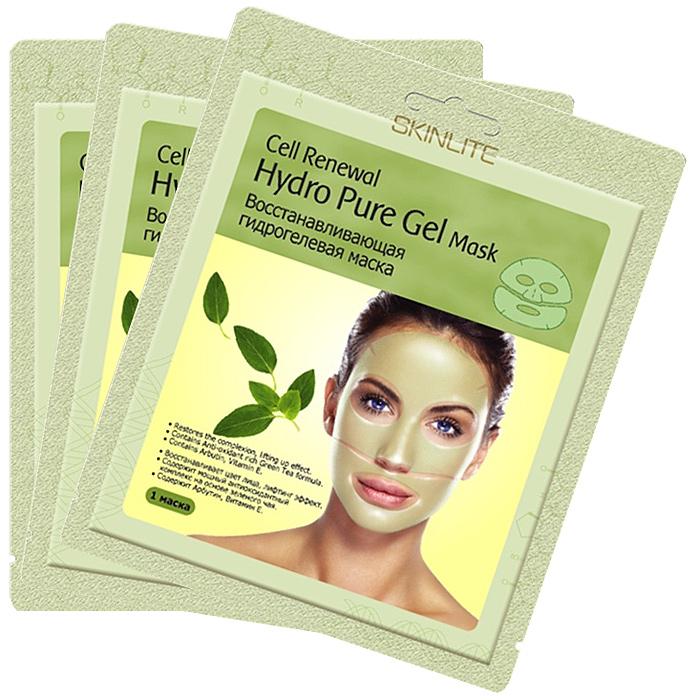 Skinlite Набор гидрогелевых масок для лица Cell Renewal, восстанавливающих, 3 штSL-253Восстанавливающая гидрогелевая маска Cell Renewal:Восстанавливает цвет лица, лифтинг эффект; Содержит мощный антиоксидантный комплекс на основе зеленого чая;Содержит Арбутин, Витамин Е. Уникальная основа из тончайшего гидрогеля позволяет маске абсолютно плотно прилегать к коже лица и, благодаря этому, достигается максимальный эффект проникновения активных ингредиентов в клетки кожи. Входящие в состав маски Арбутин, Бетаглюкан, экстракт зеленого чая, витамин Е и другие натуральные компоненты оказывают глубоко увлажняющее, восстанавливающее воздействие. Осветляют пигментные пятна, разглаживают и подтягивают кожу. Во время процедуры Вы заметите, что вместе с поглощением кожей активных ингредиентов, маска становится тоньше. Результат:После применения маски кожа выглядит значительно моложе: цвет лица сияет, излучая энергию молодости, а кожа становится ровной и гладкой.Способ применения:1. Тщательно вымойте и высушите лицо.2. Откройте упаковку и достаньте маску. Удалите пластиковую пленку с обеих сторон. 3. Положите верхнюю и нижнюю части на лицо. Разгладьте маску на коже, чтобы не осталось пузырей.4. Оставьте маску на 20-30 минут и затем аккуратно снимите ее, потянув за края. Нежно вмассируйте остатки маски в кожу лица. Используйте маску первые 2 недели 1 раз в 2 дня, далее 2 раза в неделю. Товар сертифицирован.