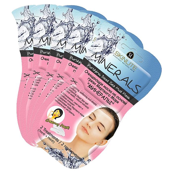 Skinlite Набор масок для лица Минералы, очищающих, на основе грязи Мертвого моря, 5 шт300033Очищающая маска на основе грязи Мертвого моря Минералы: • Успокаивает, смягчает и глубоко очищает; • Содержит соли Мертвого моря; • Коралловая вода, натуральные экстракты. -2 применения (7мл х 2шт)-Для нормальной и жирной кожи.Уникальный комплекс солей Мертвого моря и минеральных веществ глубоко очищает, выравнивает цвет лица и нормализует обменные процессы в коже. Исключительно натуральные компоненты, такие как экстракты черники, сахарного тростника, клена, апельсина и лимона, действующие изнутри, повышают уровень увлажненности и эластичности, уменьшают глубину морщинок, а также сокращают плотность комедонов и размеры пор. Маска тонизирует и освежает кожу, делая ее гладкой и бархатистой, дарит ощущение молодости, легкости и комфорта.Способ применения: 1. Очистите лицо от макияжа. 2. Откройте упаковку и нанесите маску на лицо и шею, избегая области глаз и губ.3. Смойте маску теплой водой через 15-20 мин. Используйте маску 1-2 раза в неделю для достижения максимального эффекта. Товар сертифицирован.