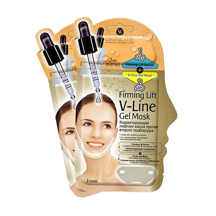 Skinlite Набор лифтинг-масок против второго подбородка, корректирующих, 2 штFS-00897Корректирующая лифтинг-маска избавляет от второго подбородка без вмешательства хирурга.Представляет собой инновационную 2-х ступенчатую программу по регенерации и подтяжке кожи, которая сочетает в себе преимущества глубокого воздействия сыворотки и механического воздействия маски для достижения наилучших результатов. • Подтягивающая сыворотка (шаг 1): имеет нежнейшую текстуру, способную проникать в глубокие слои кожи, а входящие в ее состав Аденозин и Коэнзим Q-10 интенсивно восстанавливают эластичность кожи и предупреждают раннее старение. • Гелевая маска на область подбородка (шаг 2):специально разработана для решения проблем дряблости кожи в области шеи и препятствует появлению второго подбородка, уменьшая уже присутствующий, корректирует контур лица, восстанавливает тонус кожи. Специальная форма маски позволяет достичь максимального результата, усиливая подтягивающее действие на зону подбородка за счет натяжения маски. В процессе получается наиболее плотный контакт с поверхностью маски, а в сочетании с подтягивающей сывороткой достигается максимальный эффект, направленный на улучшение микроциркуляции и снижение отечности. Результат: Контур лица заметно подтягивается и укрепляется.Способ применения: 1. Тщательно вымойте и высушите лицо.2. Откройте упаковку с подтягивающей сывороткой (шаг 1) и нанесите ее ровным слоем на область шеи и подбородка.3. Откройте гелевую маску (шаг 2) и снимите с нее защитную пленку. 4. Приложите маску глянцевой стороной на шею, начиная от центра подбородка, а специальные прорези оденьте на уши. Разгладьте маску на коже, чтобы под ней не осталось воздуха.5. Оставьте на 20-30 минут или на всю ночь.6. Осторожно снимите маску. Если на коже остались частички геля, сполосните водой.Используйте маску первые 2 недели 1 раз в 2 дня, далее 2 раза в неделю. Товар сертифицирован.