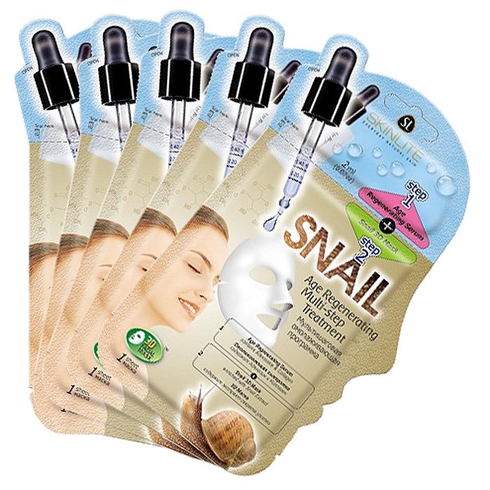 Skinlite Набор масок Мультишаговая программа для лицас секретом улитки,омолаживающая, 4 штSL-274Это инновационная 2-х этапная программа восстановления кожи, сочетающая в себе преимущества одновременного воздействия на кожу сыворотки и маски для достижения максимально эффективного результата. Омолаживающая сыворотка (этап 1) предотвращает появление морщинок и уменьшает уже имеющиеся, придает коже упругость и эластичность. Выполняет подготовительную функцию перед применением маски и способствует более глубокому проникновению активных компонентов, содержащихся в маске. Маска с экстрактом секрета улитки (этап 2): Специальная форма 3D-маски обеспечивает идеальное покрытие для всех областей лица, в том числе линии подбородка. Экстракт секрета улитки является мощным антиоксидантом, защищает клетки от разрушения и преждевременного старения, восстанавливает качество коллагеновых и эластиновых волокон, улучшает микроциркуляцию, омолаживает и подтягивает кожу.Способ применения: 1. Тщательно вымойте и высушите лицо. 2. Откройте упаковку с сывороткой (этап 1) и нанесите ее равномерно на все лицо.3. Откройте 3D-маску (этап 2). Приложите маску на лицо в порядке, как показано на рисунке: сначала на подбородок, затем на лоб, нос и потом область рта. Разгладьте маску пальцами для удаления пузырьков воздуха. 4. Оставьте маску на 15-20 минут, затем аккуратно снимите ее, начиная с краев. Нежно вмассируйте остатки маски в кожу. Товар сертифицирован.