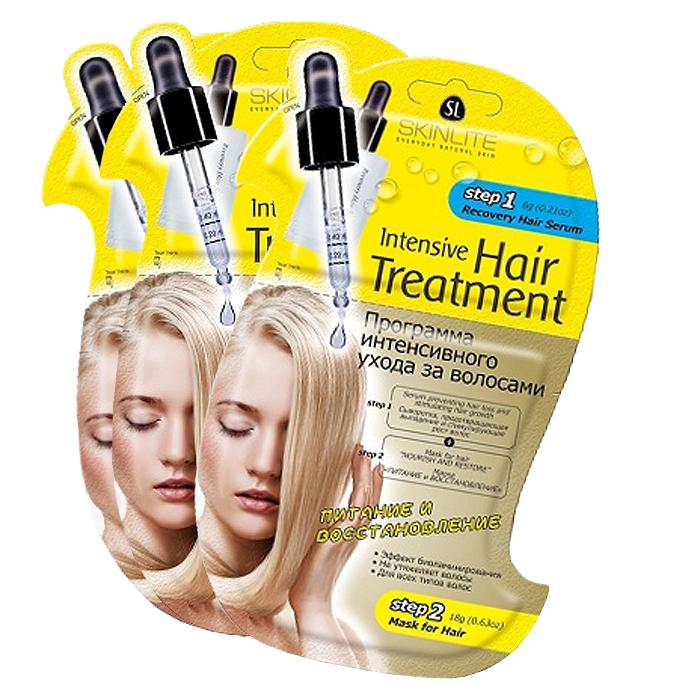 Skinlite Набор: Программа интенсивного ухода за волосами Питание и восстановление, 3 штFS-36054Программа интенсивного ухода за волосами Питание и восстановление - это инновационная 2-х этапная программа, которая специально разработана для профессионального ухода за волосами в домашних условиях. Сочетает в себе интенсивное воздействие активных ингредиентов на кожу головы и волосы от корней до самых кончиков.Сыворотка, предотвращающая выпадение и стимулирующая рост волос (этап 1). Специально разработана для ухода за тонкими, ослабленными волосами, склонными к выпадению.Благодаря уникальной формуле, сыворотка стимулирует метаболические процессы, улучшает микроциркуляцию крови, пробуждает фолликулы, находящиеся в телагеновой спячке, качественно увеличивает количество растущих волос. Ускоряет рост, способствует оживлению, укреплению и регенерации волос.Сыворотка не содержит синтетических и гормональных добавок, подходит для всех типов волос.Маска Питание и восстановление (этап 2). Создана специально для ухода за истощенными, сухими волосами, подвергшимися окраске, химической завивке или агрессивному воздействию солнечных лучей. Восстанавливает внутреннюю поврежденную структуру волос, наполняет их здоровьем и блеском. Уникальная формула маски содержит эффективные питательные и увлажняющие компоненты.Масло оливы питает, защищает и предотвращает «пушение» волос. Масло жожоба в сочетании с витаминами наполняют волосы жизненной силой и энергией, прекрасно сохраняет влагу, препятствуя ломкости и сухости волос. Маска способствует интенсивному восстановлению структуры волос, смягчает и возвращает им роскошный блеск. Волосы обретают силу, блеск и здоровый роскошный вид!Способ применения: 1. Откройте упаковку с сывороткой (этап 1) и нанесите ее равномерно только на кожу головы. 2. Массажными движениями втирайте сыворотку в корни волос 2-3 минуты, для более интенсивного массажа можно использовать массажную щетку. 3. Откройте 2-ую часть упаковки с маской (этап 2) и нанесите ее равно