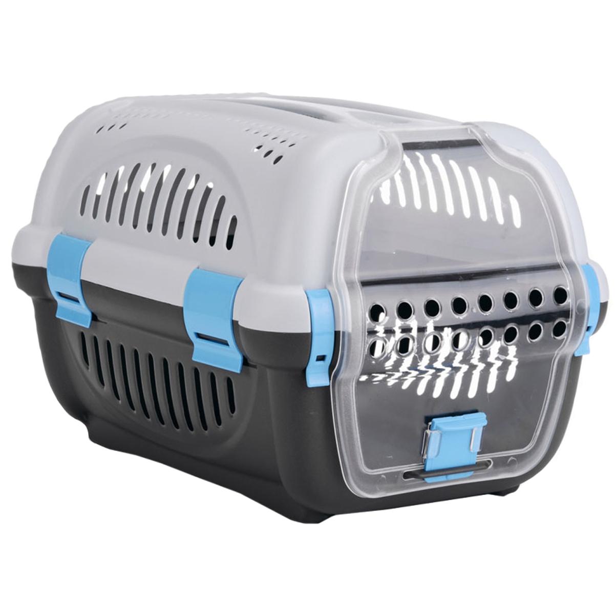Переноска для животных I.P.T.S., цвет: серый, синий, 51 х 34,5 х 33 см0120710Переноска I.P.T.S. очень удобна для транспортировки собаки. Воздух циркулирует благодаря пластмассовым решеткам по всему периметру переноски. Прозрачная дверца обеспечивает животному возможность наблюдать за происходящим вокруг. Яркие фрагменты в дизайне переноски добавляют индивидуальности.