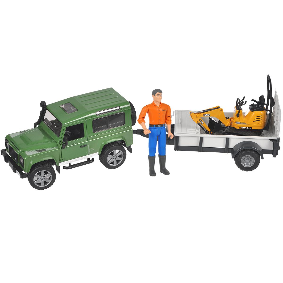 """Внедорожник Bruder """"Land Rover Defender"""", выполненный из прочного безопасного материала, отлично подойдет ребенку для различных игр. Машина является уменьшенной копией внедорожника фирмы Land Rover Defender. В комплект также входят прицеп-платформа, мини-экскаватор """"JCB. 8010 CTS"""" и фигурка рабочего. Внедорожник отличается высокой детализацией. С левой стороны проходит выхлопная труба. Капот поднимается и крюком фиксируется в верхнем положении. Передняя и задняя оси оснащены амортизаторами. Задние сиденья снимаются, и внедорожник превращается в удобный автомобиль для перевозки грузов. К задней двери внедорожника прикреплено запасное колесо. Также внедорожник оснащен фаркопом. Дверь водителя, пассажира и задняя двери открываются и снимаются. В салон помещается небольшая фигурка или игрушка. Передние колеса поворачиваются рулем. Кроме этого, в наборе прилагается дополнительный руль (расположен на днище автомобиля), которым через крышу можно управлять колесами внедорожника. ..."""