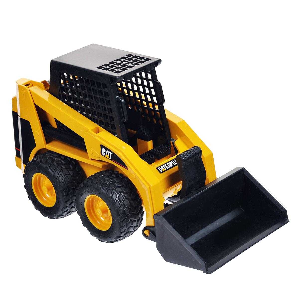 """Колесный мини-погрузчик Bruder """"Cat"""", выполненный из прочного материала, отлично подойдет ребенку для различных игр. Машина является уменьшенной копией экскаватора-погрузчика фирмы Cat. Мини-погрузчик часто используется для уборки улиц. Ковш регулируется по высоте и меняет угол наклона. Есть возможность заменить ковш на другие аксессуары (не входят в комплект). Колеса машины прорезинены, что обеспечивает ему дополнительную устойчивость и хорошее сцепление с дорогой. С этим реалистично выполненным погрузчиком ваш малыш часами будет занят игрой."""