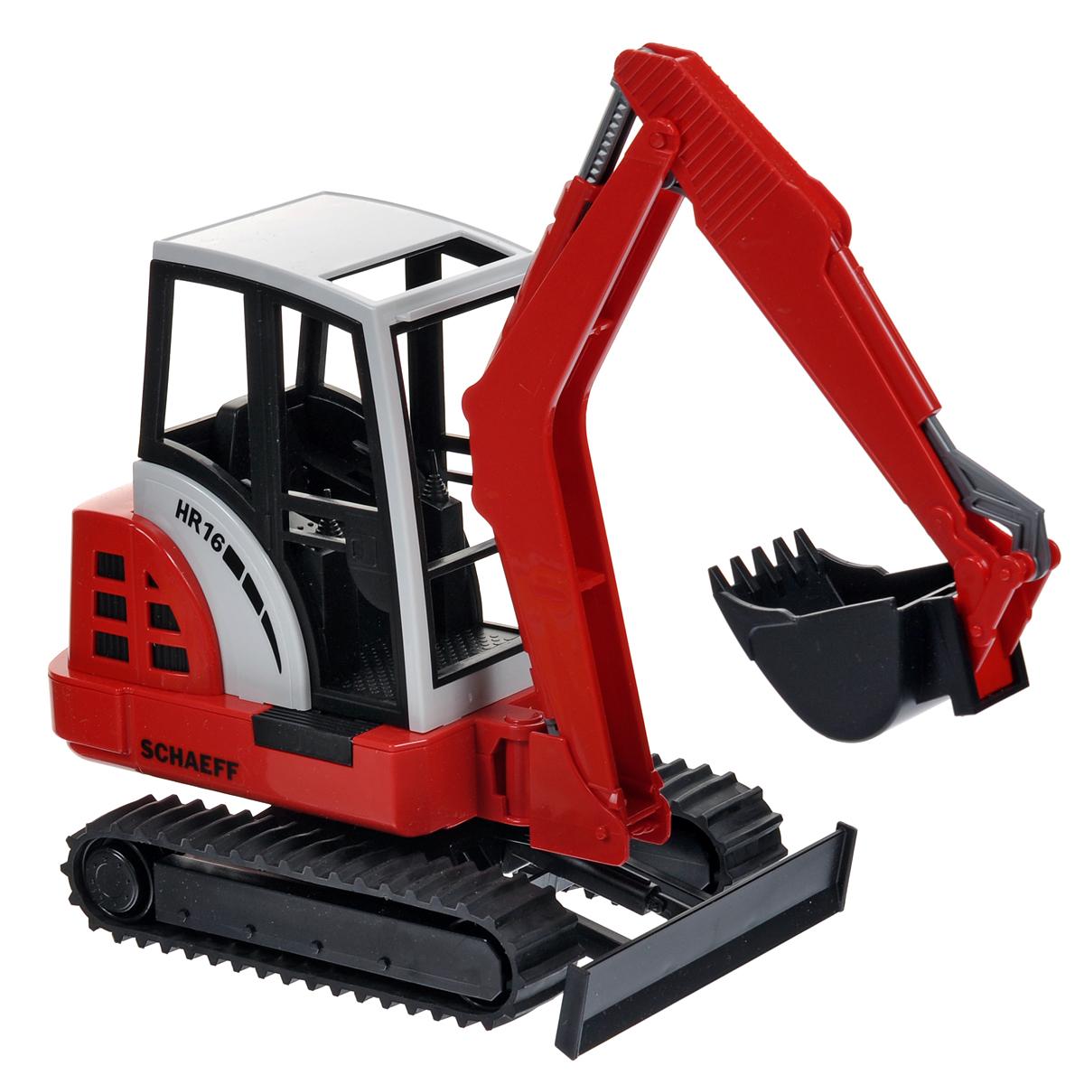 """Гусеничный мини-экскаватор Bruder """"Schaeff HR16"""", выполненный из прочного материала, отлично подойдет ребенку для различных игр. Машина является уменьшенной копией мини-экскаватора фирмы Schaeff. Экскаватор оснащен отвалом и ковшом, с помощью которых можно перемещать материалы (камушки, песок, веточки и др.), убирать строительный мусор или расчищать площадку. Кабина мини-экскаватора с резиновыми гусеницами поворачивается на 360°. В незастекленную кабину машины легко поместится небольшая игрушка. С этим реалистично выполненным экскаватором ваш малыш часами будет занят игрой."""