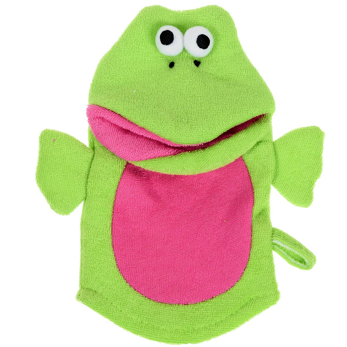 Варежка-мочалка детская Лягушка, цвет: зеленый, красный5010777139655Мочалка для детей Лягушка выполнена в виде варежке с забавной лягушкой, которая надевается на руку. Нежная и мягкая варежка из специального материала создана для купания самых маленьких. Мягкая ткань нежно массирует, удаляя загрязнения, оставляя кожу малыша чистой. Через ткань малыш чувствует руку мамы. Варежка непременно привлечет внимание крохи и станет прекрасным поводом помыться самостоятельно, когда ваш ребенок подрастет.