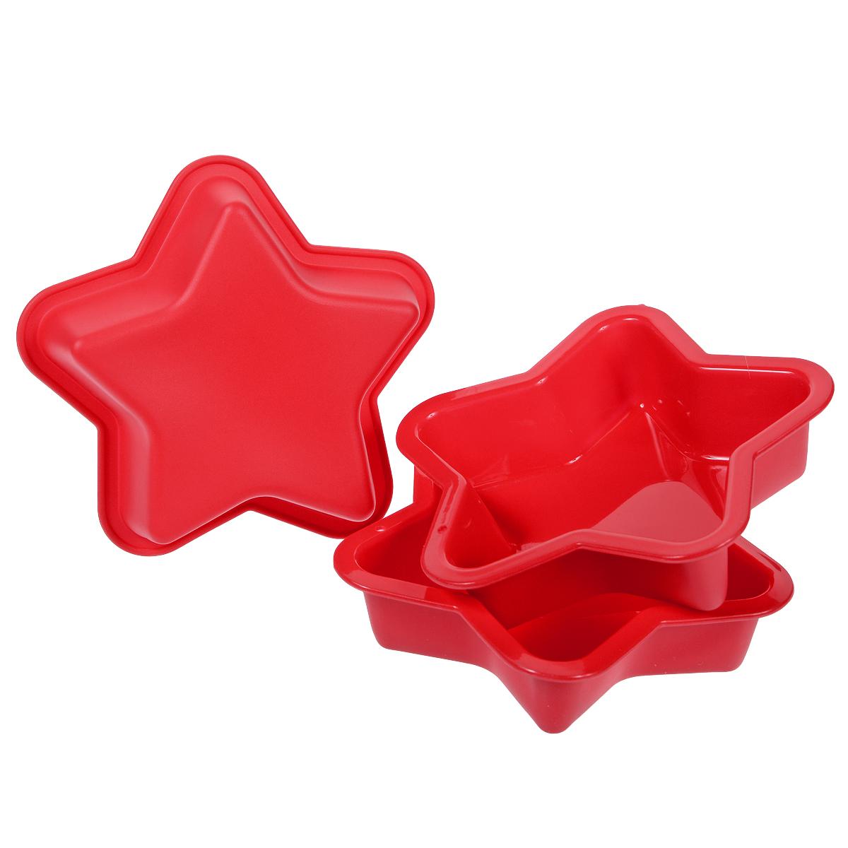 Набор форм для выпечки Звезда, цвет: красный, 3 шт3344Набор форм для выпечки Звезда состоит из трех форм, выполненных из силикона в виде звезд. Основные преимущества силиконовых форм заключаются в том, что их можно использовать при очень высоких температурах, пища в них не пригорает и легко вынимается; после использования такие формочки очень легко мыть. Специальная форма изделий идеальна для приготовления кексов и пирожных. Такие формы также можно использовать для заморозки.
