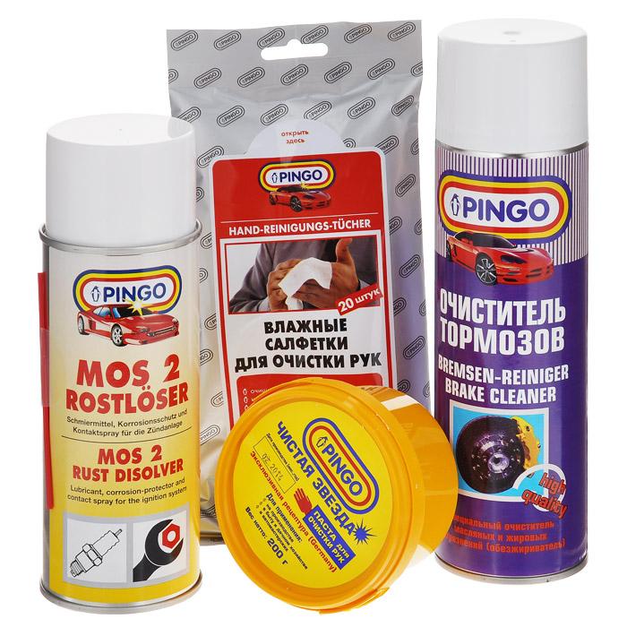 Набор для ремонта автомобиля Pingo. 85034-0RC-100BPCНабор для ремонта автомобиля Pingo - это комплекс средств, созданный помочь вам в ремонтных работах по автомобилю. Очиститель тормозов, входящий в состав набора, применяется для очистки тормозных дисков и барабанов, колодок, цилиндров и других деталей тормозных систем и сцепления. Эффективно удаляет продукты износа тормозных колодок, масляные и жировые загрязнения. Также используется как средство для очистки инструментов и обезжиривания поверхностей и деталей при ремонте двигателей, коробок передач, генераторов и т.п. Универсальная проникающая смазка MOS-2 с дисульфидом молибдена растворяет ржавчину, смазывает соединения, облегчает вывинчивание заклинивших болтов и гаек. Благодаря хорошим влаговытесняющим свойствамвосстанавливает работу электроцепей при высокой влажности. Защищает дверные замки от коррозии и замерзания.В состав набора входят: - очиститель тормозов, аэрозоль (1 шт.), - влажные салфетки для очистки рук (1 уп.), - универсальная смазка MOS-2, аэрозоль (1 шт.), - паста для очистки рук Чистая звезда (1 шт.).