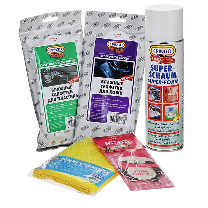 Набор для ухода за салоном автомобиля Pingo. 85034-2GC204/30Набор для ухода за салоном автомобиля Pingo - это комплекс средств для очистки салона. Очиститель Супер пена, входящий в состав набора, применяется для очистки пластика, тканевых обивок, ковров, стекол, керамики, зеркал и т.д. В автомобиле с его помощью можно очищать оконные стекла, зеркала, крыши кабриолетов, текстильные обивки, обивки из кожзаменителя, пластиковые обивки дверей и потолка салона, коврики и т.д.В состав набора входят: - очиститель Супер-пена, аэрозоль (1 шт), - влажные салфетки для кожи (1 уп), - микрофибра (1 шт), - влажные салфетки для пластика (1 уп), - ароматизатор воздуха картонный (пина колада) (1 шт).