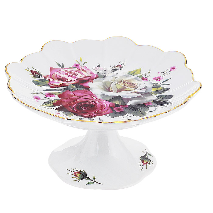 Конфетница на ножке Briswild Волшебная роза, диаметр 14,5 см115510Изящная конфетница на ножке Briswild Волшебная роза, изготовленная из высококачественного фарфора, непременно понравится любителям классического стиля. Ножка и блюдо конфетницы оформлены изображением роз. Края конфетницы украшены золотистой эмалью.Конфетница оригинально украсит ваш стол и подчеркнет изысканный вкус хозяйки.Конфетница Briswild Волшебная роза упакована в подарочную упаковку с текстильным бантиком.Не использовать в микроволновой печи. Не применять абразивные моющие средства.