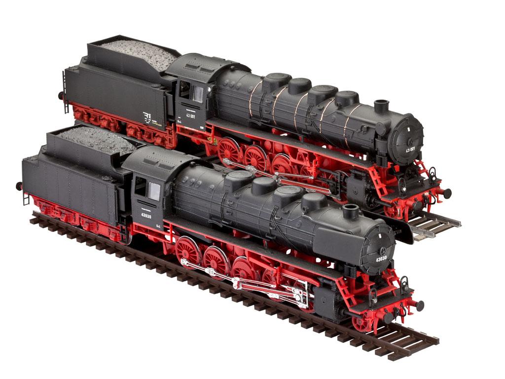 """Набор сборных моделей Revell """"Паровоз BR 43"""" позволит вам и вашему ребенку собрать 2 уменьшенные копии моделей паровозов типа """"BR43"""": Tender 2"""