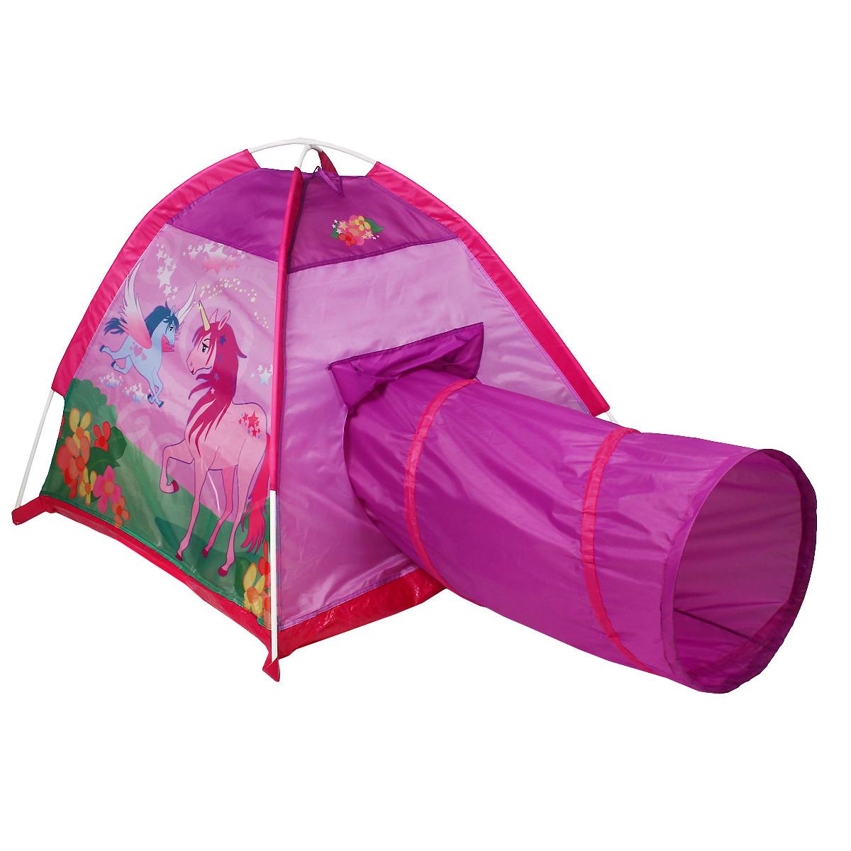 """Детская игровая палатка Five Stars """"Волшебный единорог"""" идеально подойдет для веселых игр как на улице, так и в помещении. Она выполнена в виде обычной палатки, соединенной с туннелем. Палатка снабжена одним входом и отверстием для туннеля. Каждый ребенок время от времени мечтает жить в своем собственном маленьком городке, представляя окружающий мир без взрослых. Вашему ребенку с друзьями будет очень весело прятаться от взрослых в этом городке, а также ползать с друзьями через туннель. Палатка выполнена из легкого нейлона в фиолетовых и розовых тонах и оформлена изображениями единорогов. Каркас палатки поддерживается при помощи пластиковых прутьев. Палатку удобно хранить, при складывании она занимает совсем немного места. Ваш ребенок с удовольствием будет играть в такой палатке, придумывая различные истории. Рекомендуемый возраст: от 2 лет."""