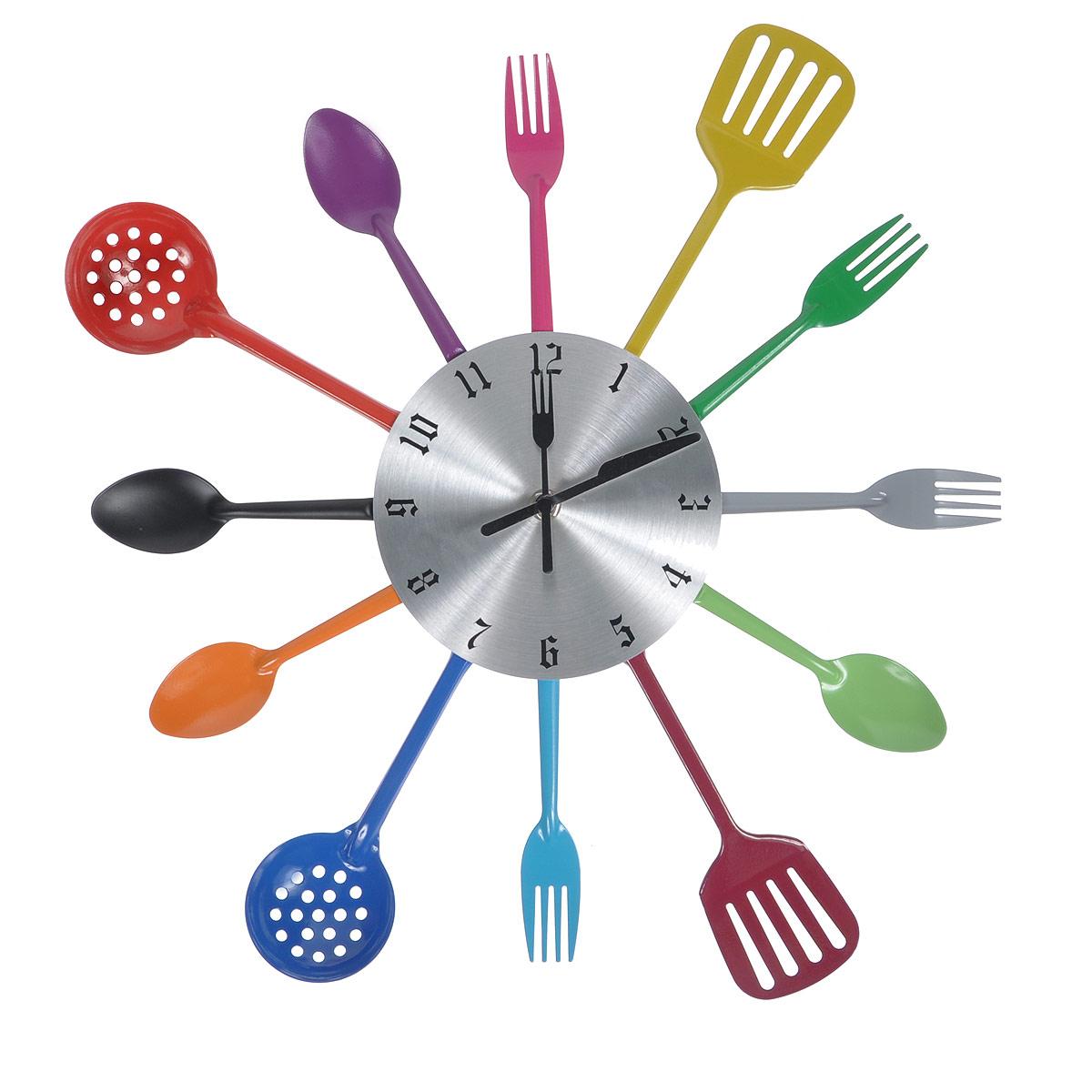 Часы настенные Поваренок. 9520696599Оригинальные настенные часы Поваренок прекрасно подойдут к интерьеру кухни. Корпус выполнен из пластика и оформлен по кругу металлическими декоративными элементами в виде разноцветных кухонных приборов. Часы красиво оформят интерьер кухни и станут прекрасным подарком к любому случаю. Диаметр циферблата: 15 см. Общий диаметр часов: 39 см.
