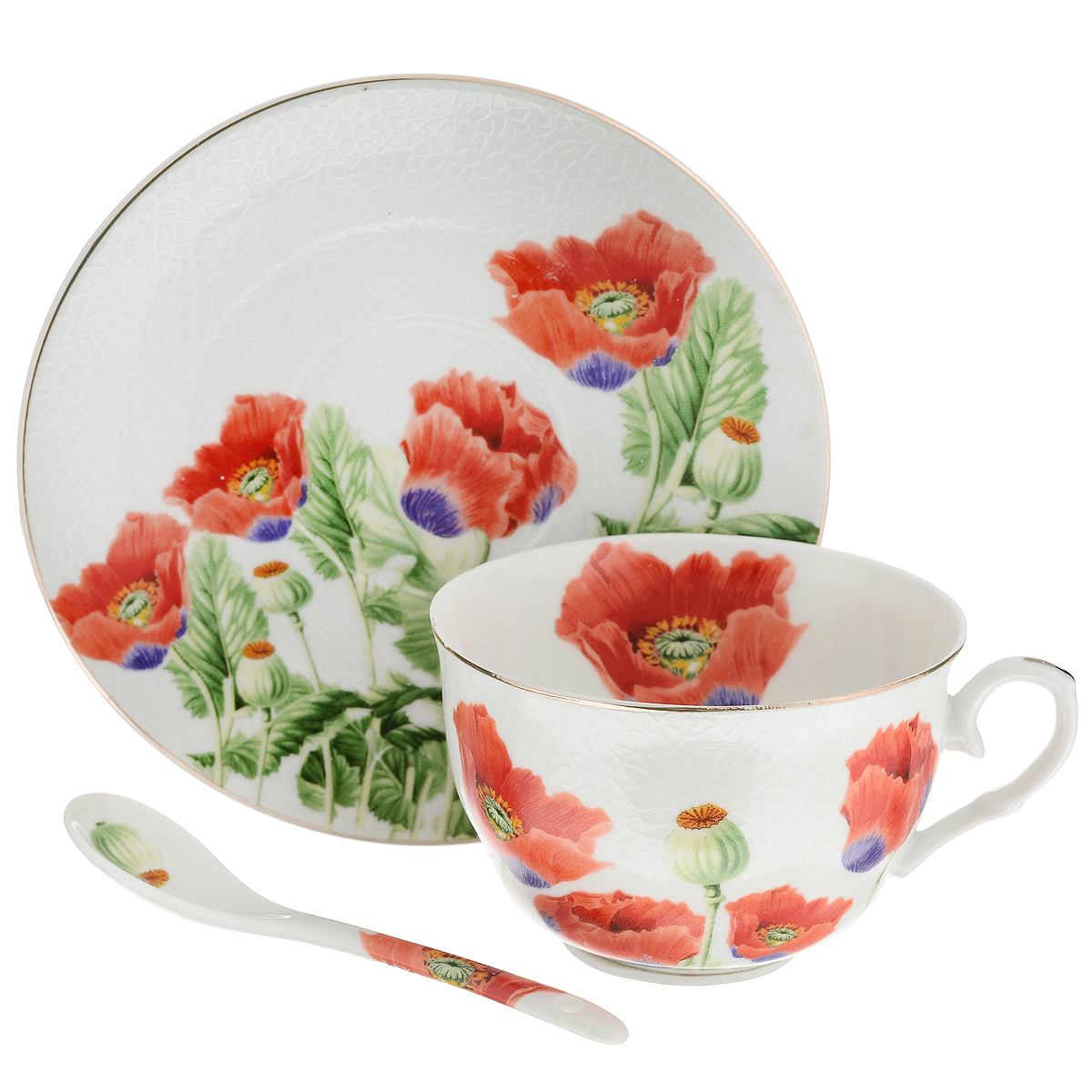 Набор чайный Briswild Цветы мака, 3 предмета115510Чайный набор Briswild Цветы мака состоит из чашки, блюдца и чайной ложки. Изделия выполнены из высококачественного фарфора и оформлены красочным цветочным рисунком. Изящный набор красиво оформит стол к чаепитию и станет приятным подарком к любому случаю. Не использовать в микроволновой печи. Не применять абразивные моющие средства.